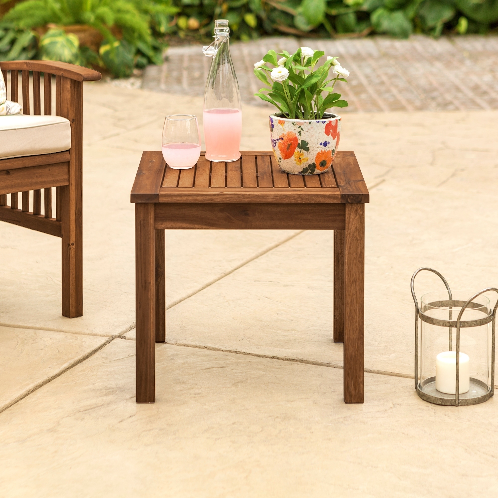 Shop 20 Inch Wood Patio Simple Side Table   Free Shipping Today    Overstock.com   19887182