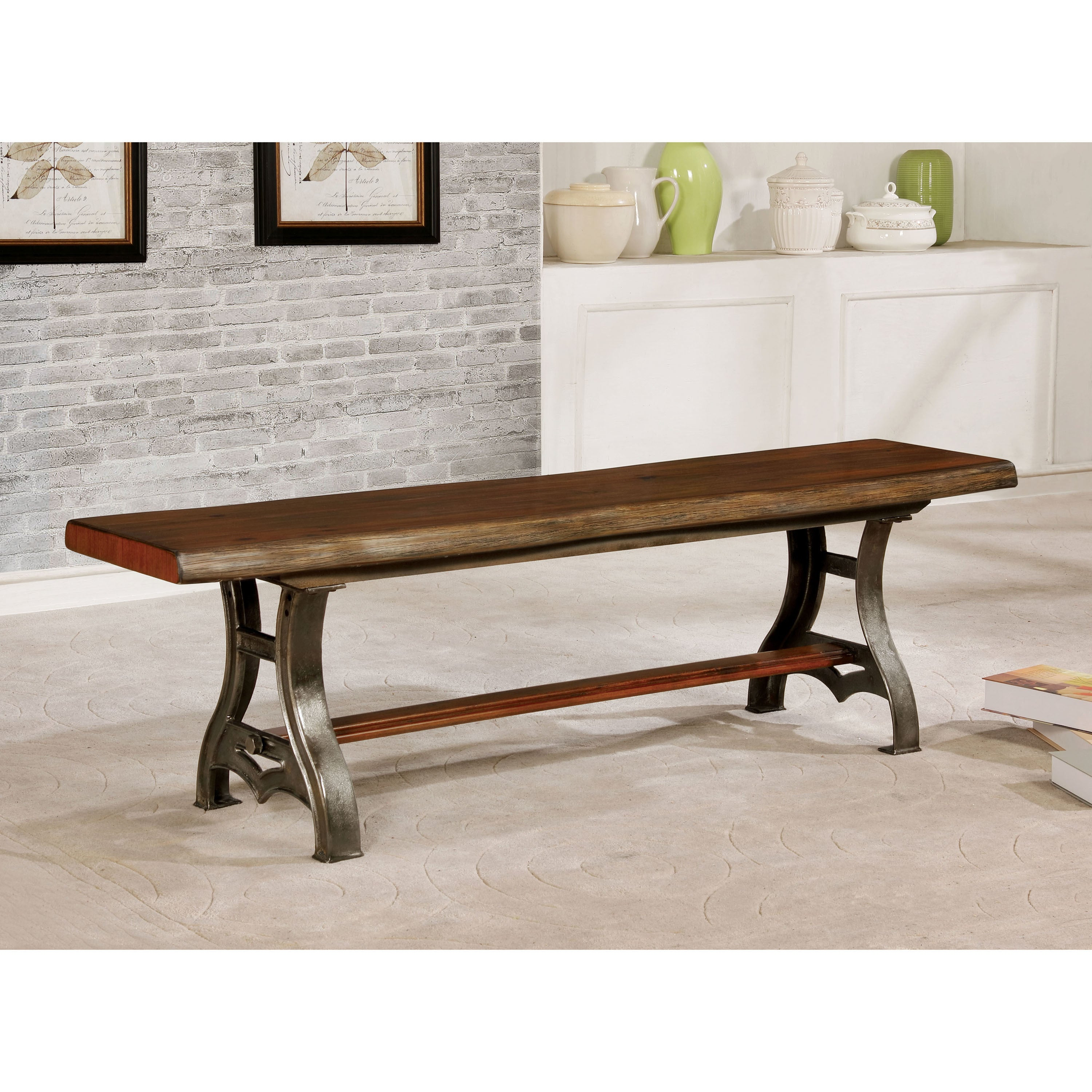 Superb Furniture Of America Roman Industrial Brown Cherry Live Edge Dining Bench    Free Shipping Today   Overstock   25813109