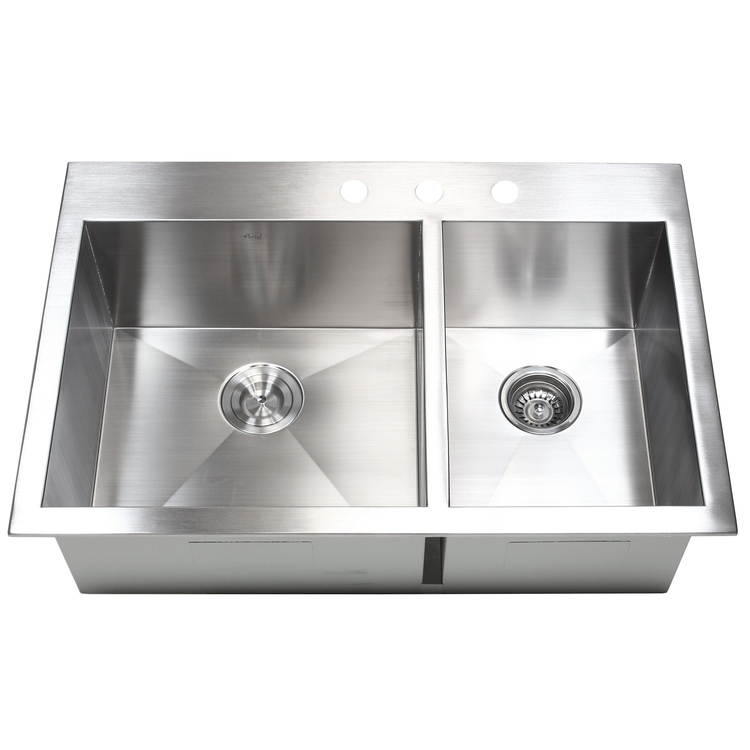 Shop 33-inch 16 Gauge Stainless Steel 60/40 Double Bowl Topmount ...