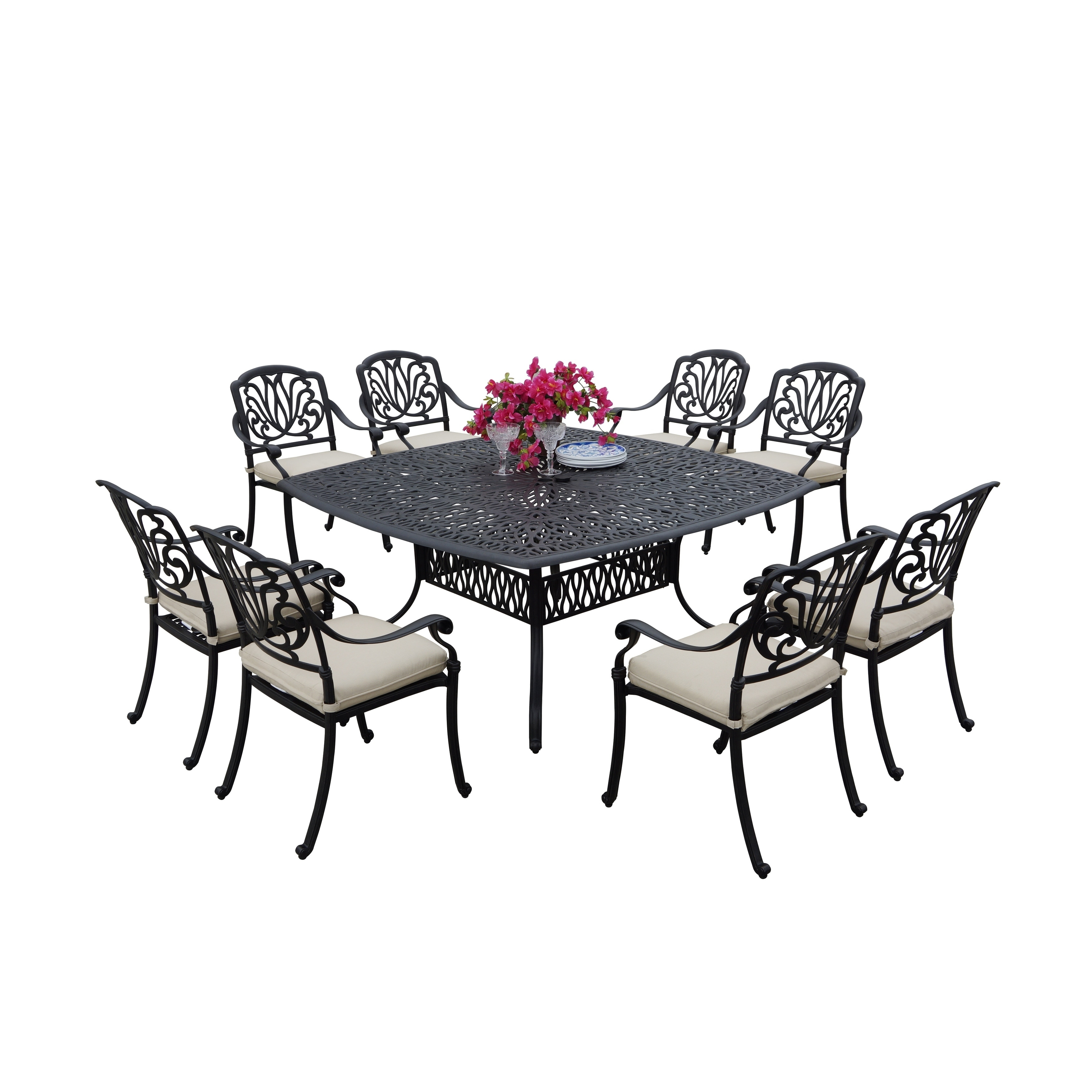 Sierra Madre Cast Aluminum 9 Piece Square Patio Dining Set Antique Bronze Free Shipping Today 19887897