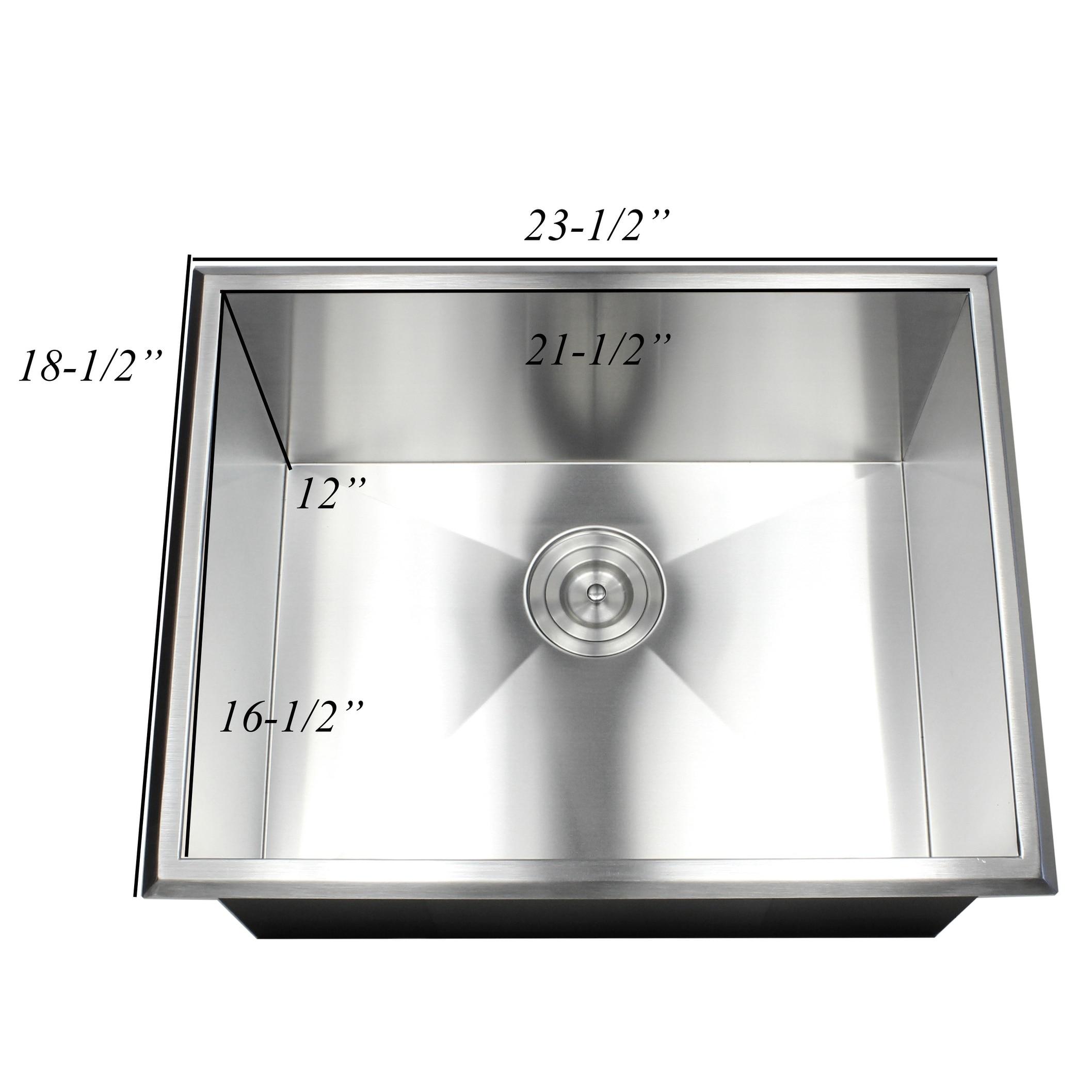 Shop 23 Inch 16 Gauge Stainless Steel Single Bowl Topmount Drop In Zero  Radius Kitchen Bar Island Laundry Utility Sink   On Sale   Free Shipping  Today ...