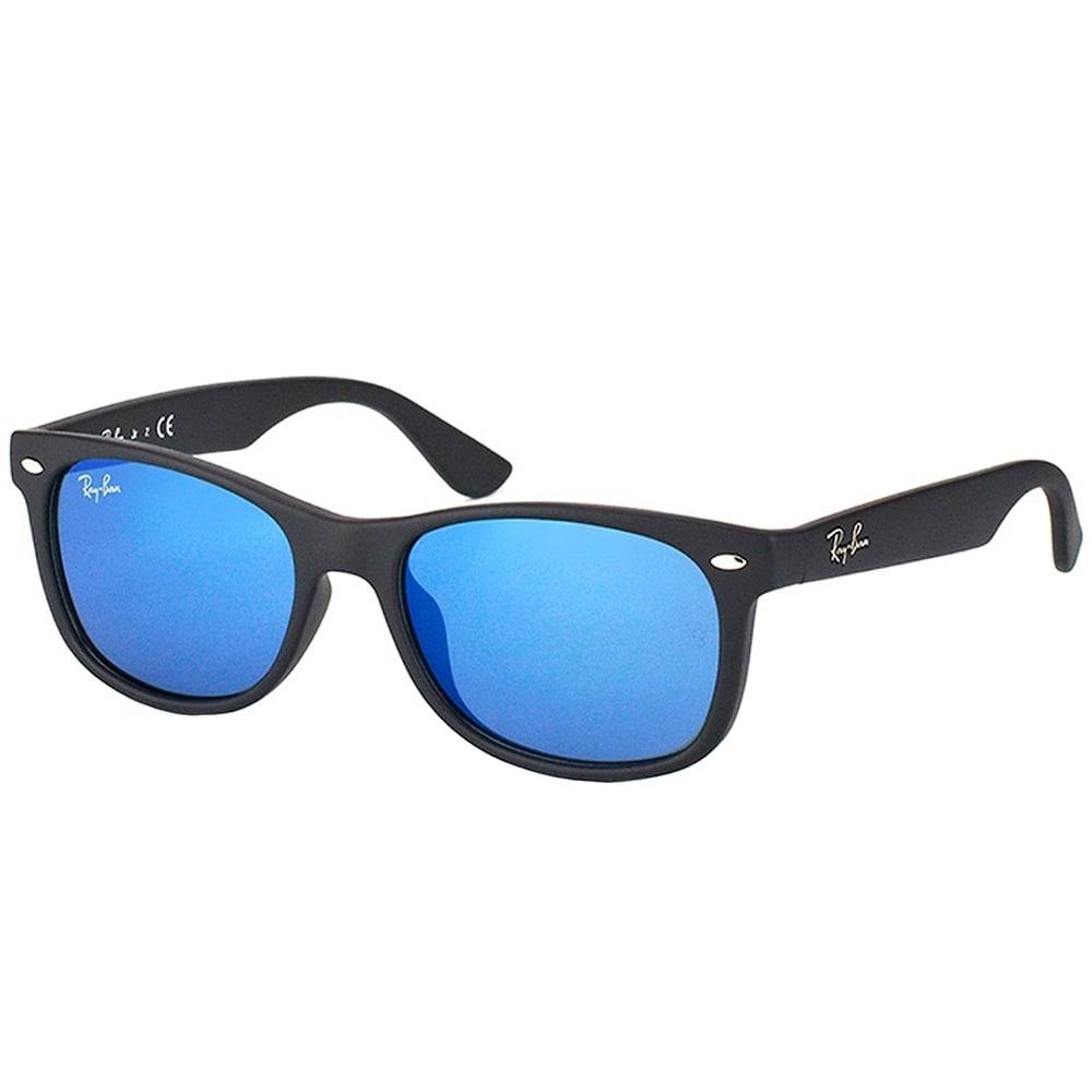 61e544a2073 Ray-Ban Junior Wayfarer RJ 9052SF Asian Fit 100S55 Kids Matte Black Frame Blue  Mirror Lens Sunglasses