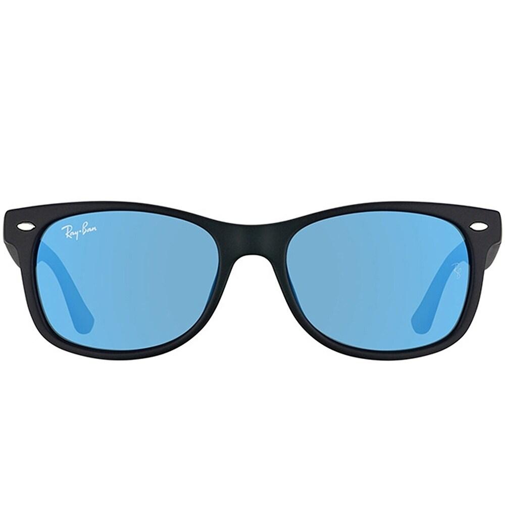 0c7d28ec2881d Shop Ray-Ban Junior Wayfarer RJ 9052SF Asian Fit 100S55 Kids Matte Black  Frame Blue Mirror Lens Sunglasses - Free Shipping Today - Overstock -  19892364