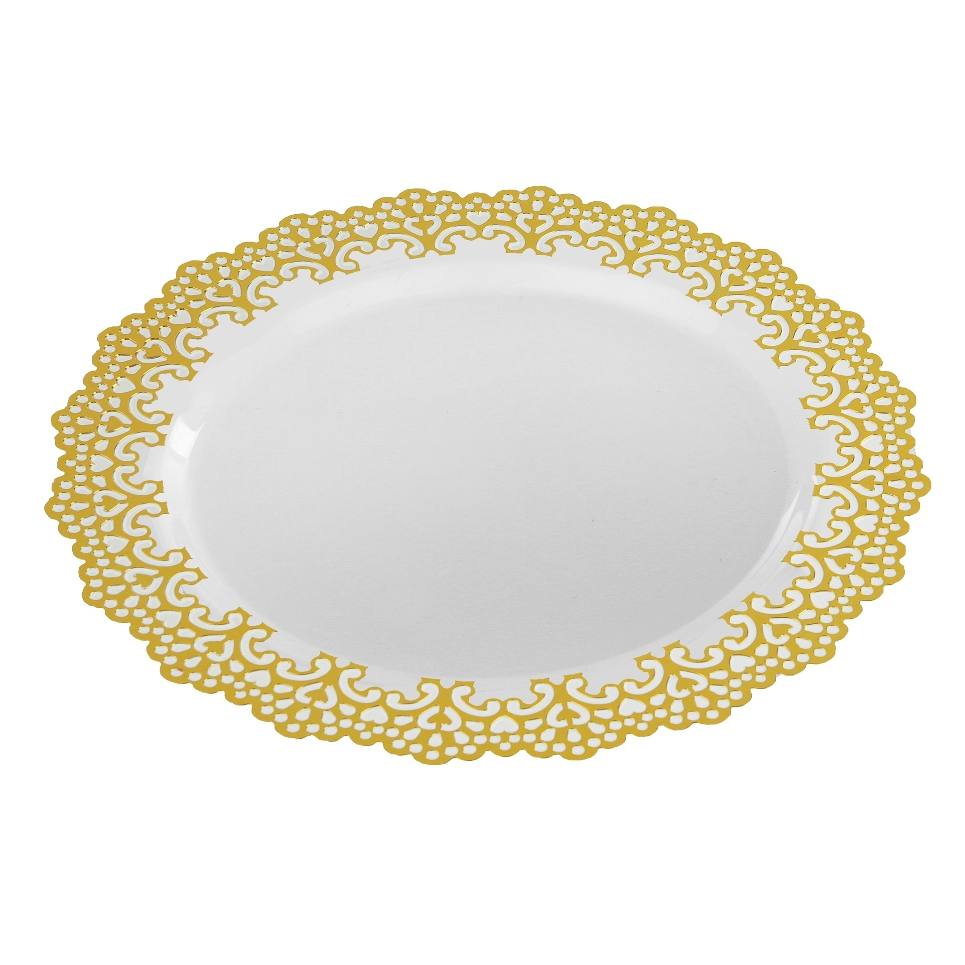Decorative Plastic Dinnerware Gold Lace Rim 9  Round Buffet/Lunch Party Plates (48 Pack) - Free Shipping On Orders Over $45 - Overstock - 25817559  sc 1 st  Overstock & Decorative Plastic Dinnerware Gold Lace Rim 9