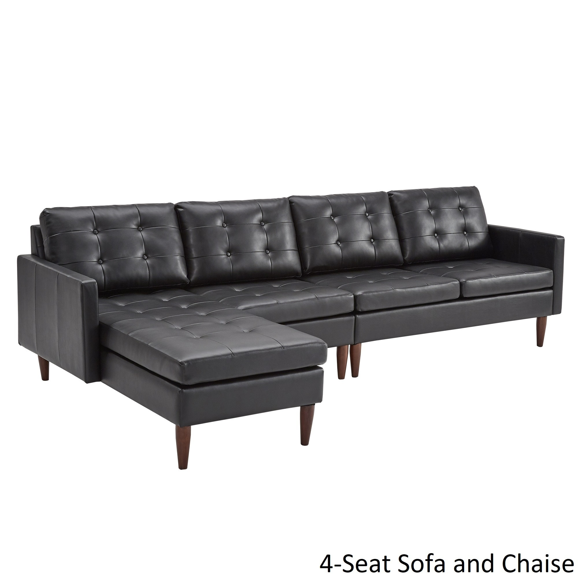 Shop Shawna Black Button Tufted Leather Gel Sofa Sectional With Chaise By  INSPIRE Q Modern   On Sale   Free Shipping Today   Overstock.com   19893676