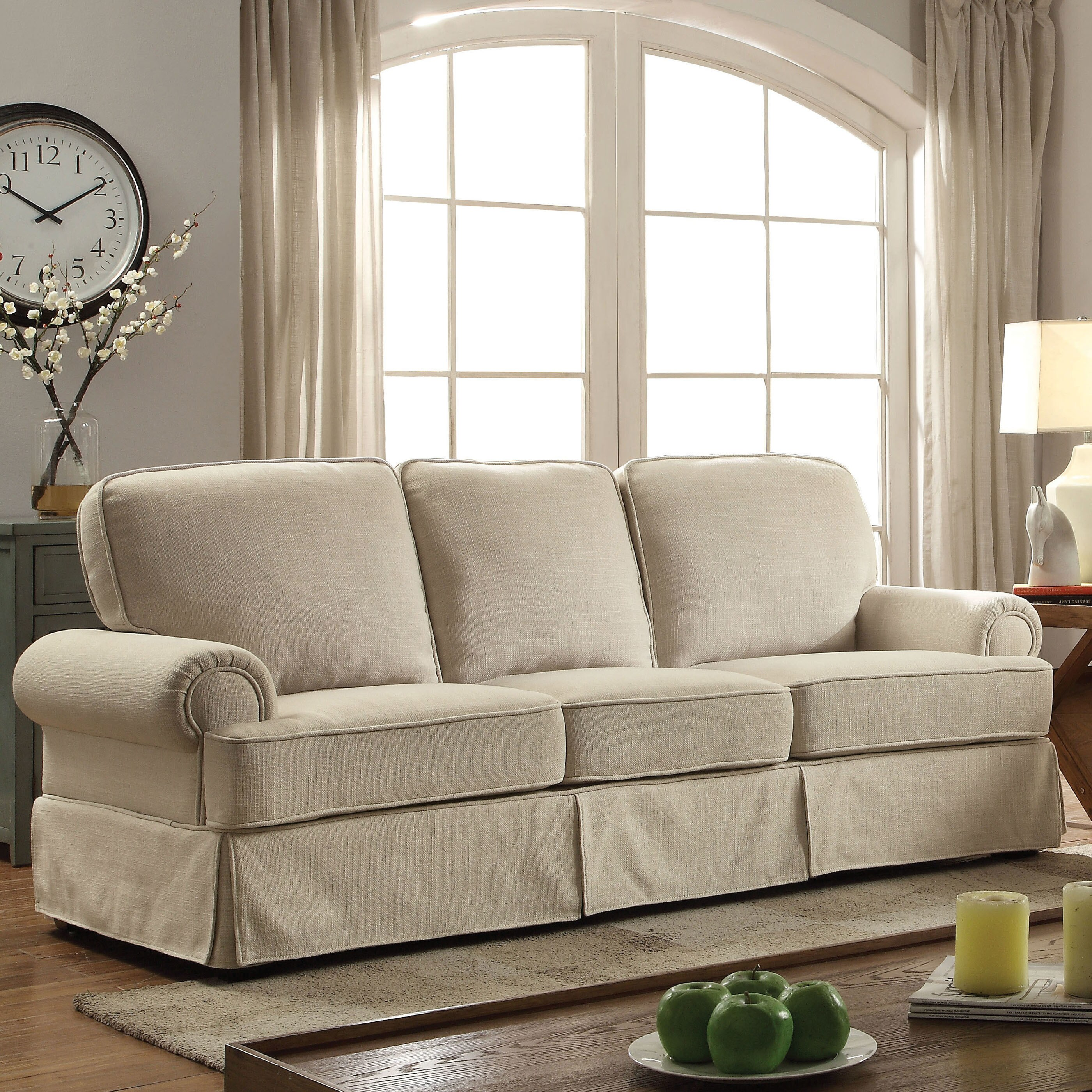 Furniture Of America Eagleton Contemporary Pillow Top Skirted Linen Sofa On Free Shipping Today 19893683