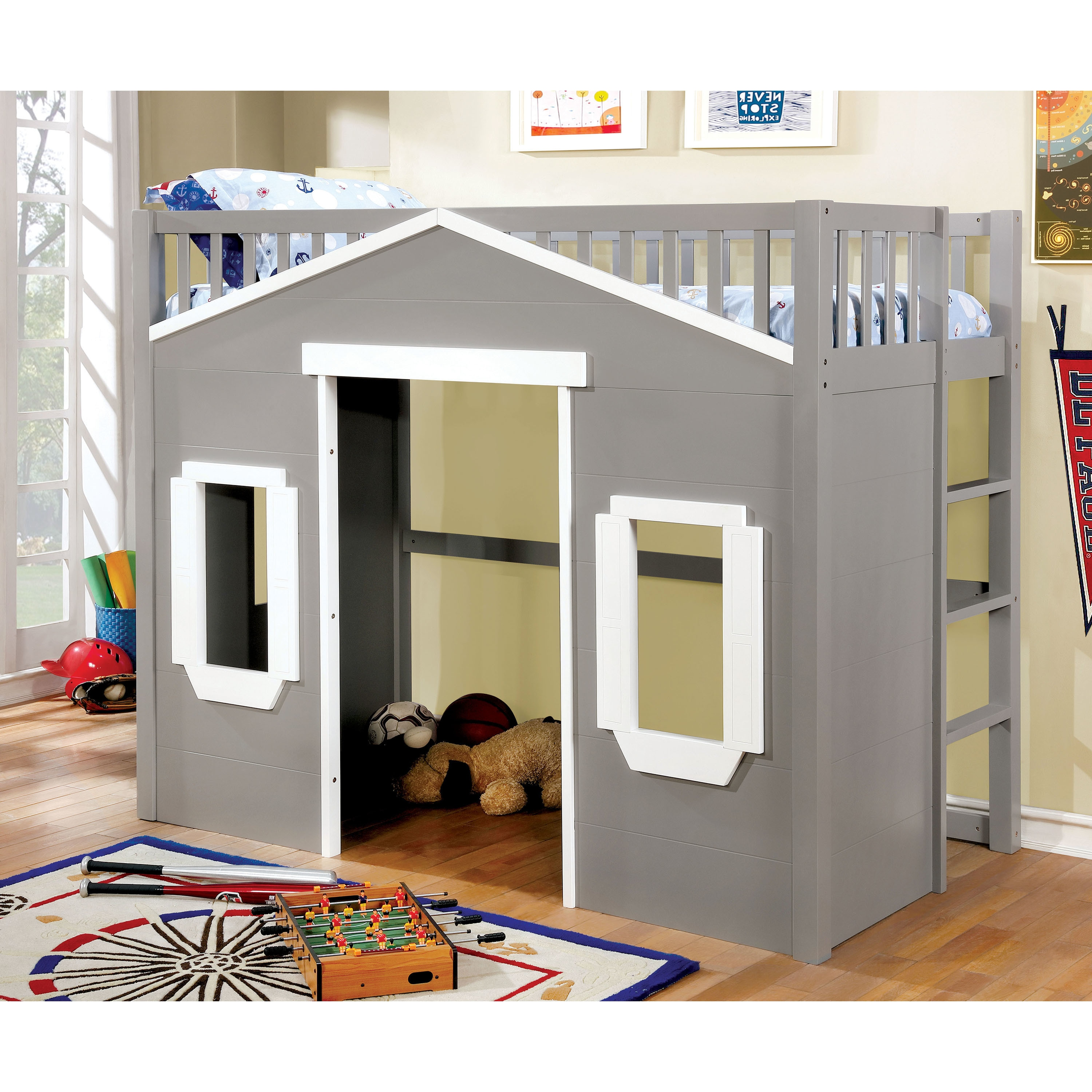 Furniture Of America Cosimo Novelty House Themed Twin Size Loft Bed   Free  Shipping Today   Overstock   25819476
