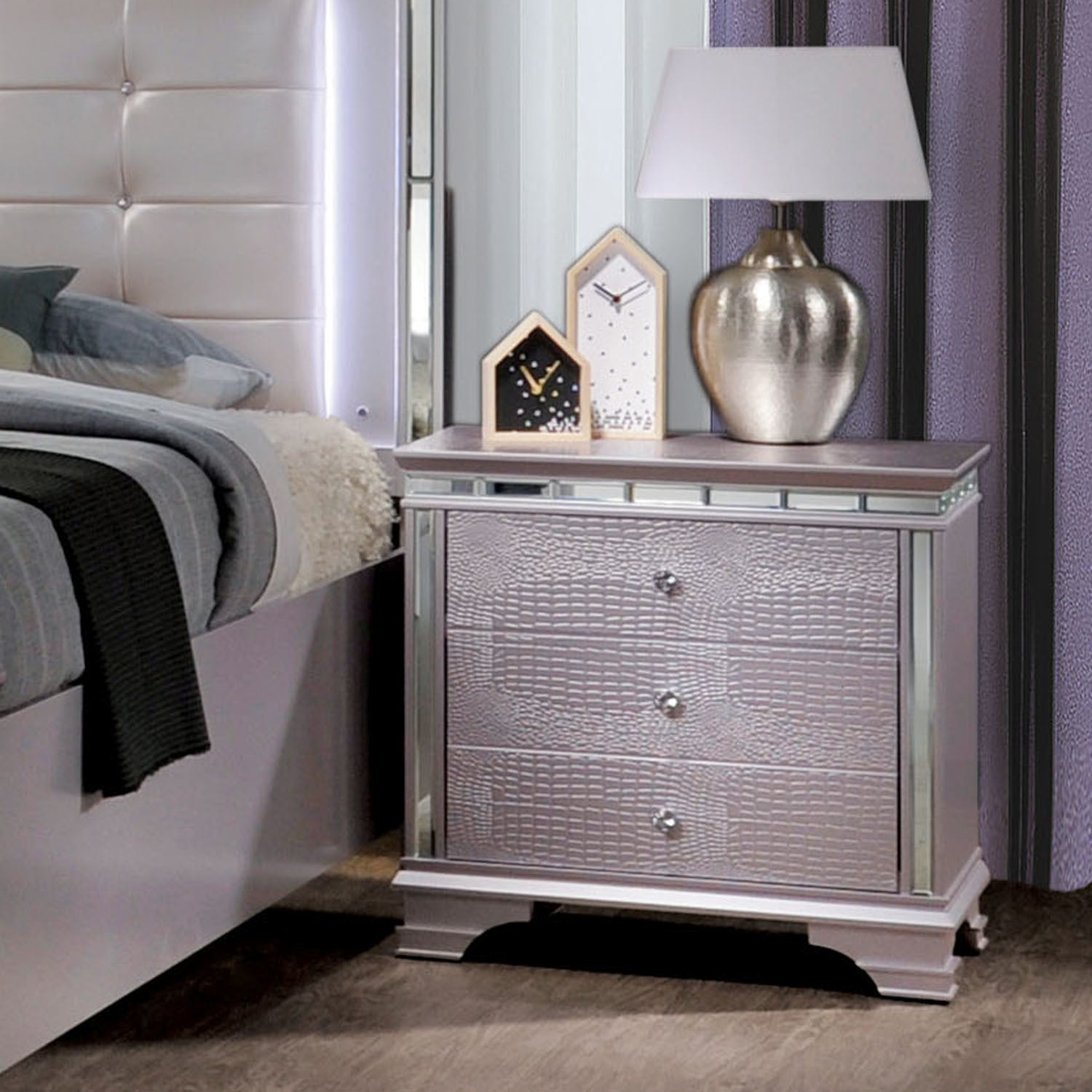 Shop furniture of america diadem glam silver rose 3 drawer nightstand on sale free shipping today overstock com 19963540