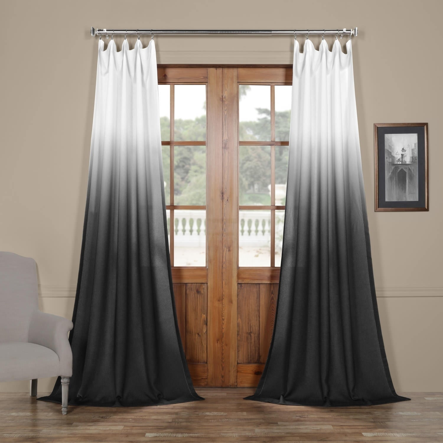 e080bf287b Shop Exclusive Fabrics Ombre Faux Linen Semi Sheer Curtain - On Sale - Free  Shipping On Orders Over  45 - Overstock - 19965864
