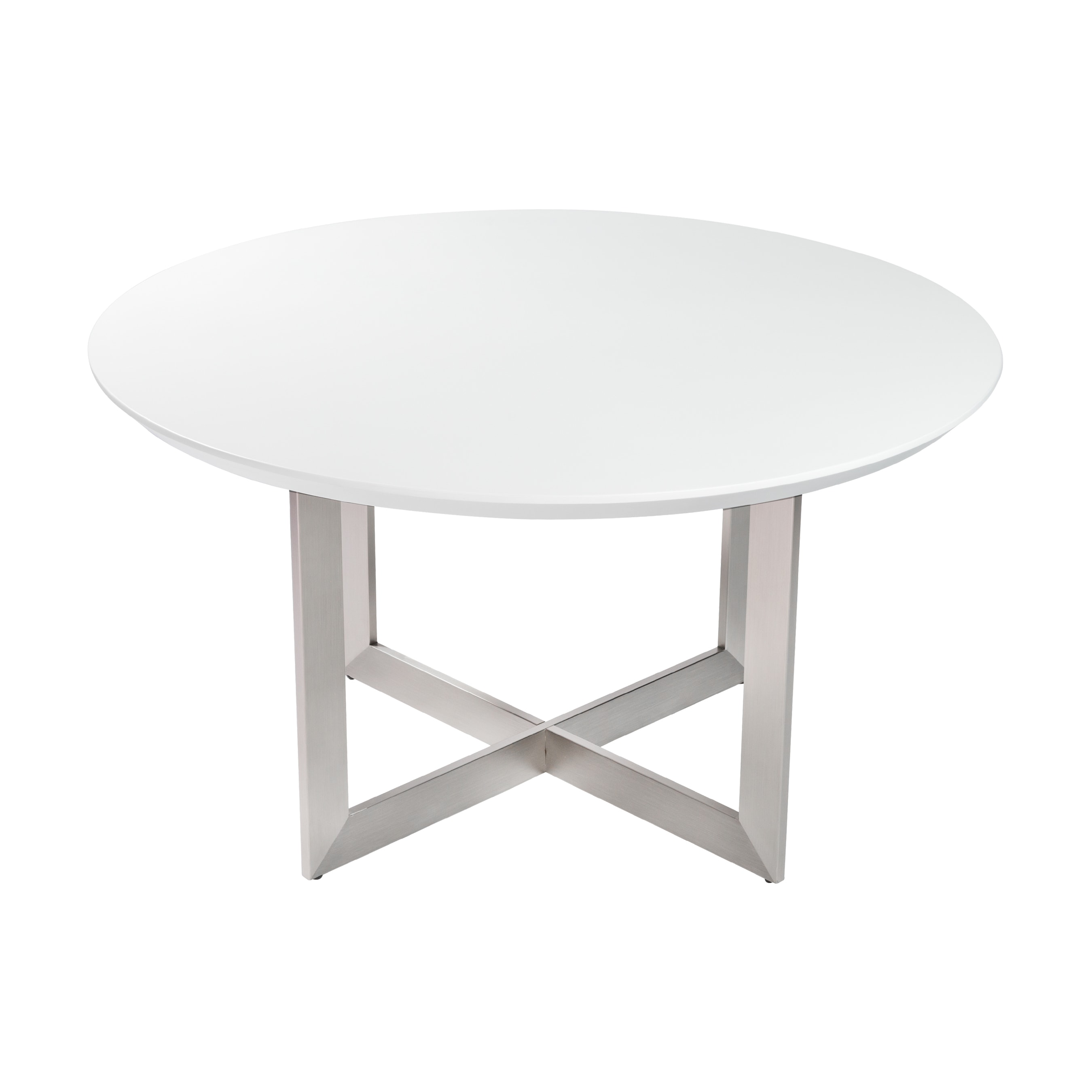 Tosca 54 Round Dining Table In Matte White With Brushed