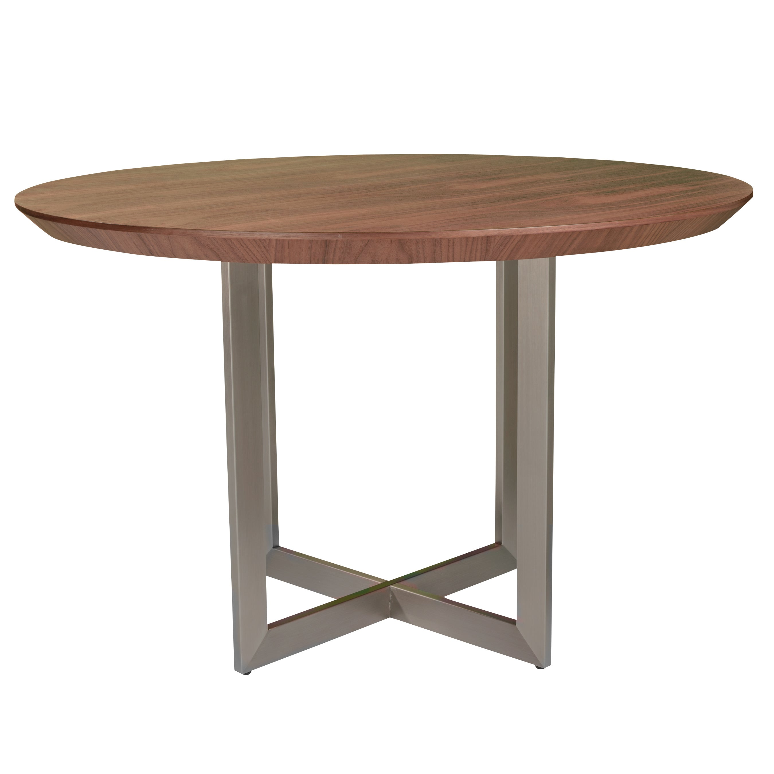 Tosca 54 Round Dining Table In American Walnut With Brushed