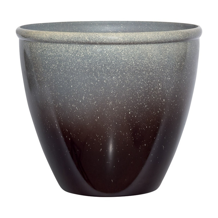 Shop Suncast Modern Brown Gray Resin Modern Planter 14 In H X 16 In