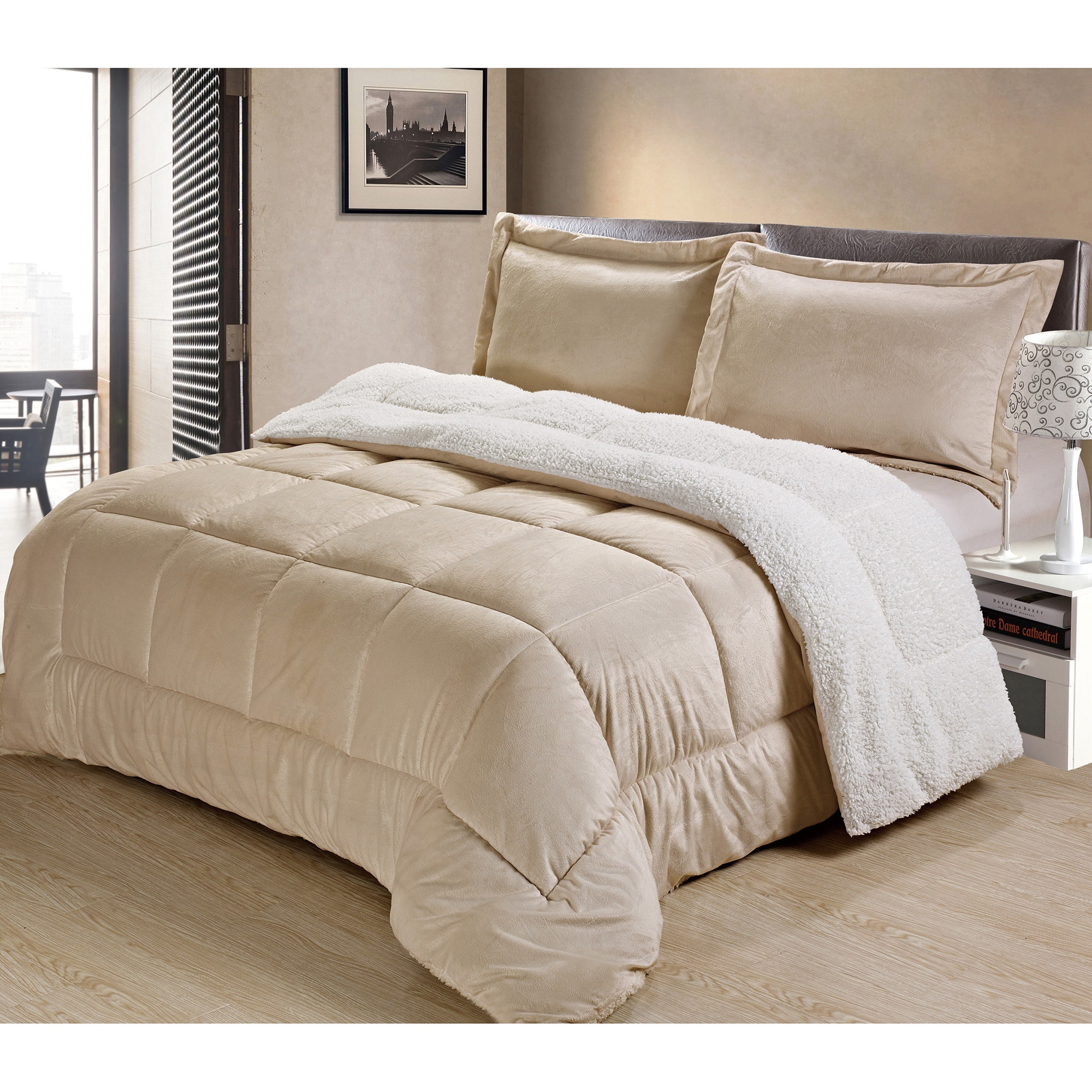 chic free suede shipping ultra kaiser bedding mink piece today micro set plush product grey comforter bath home overstock