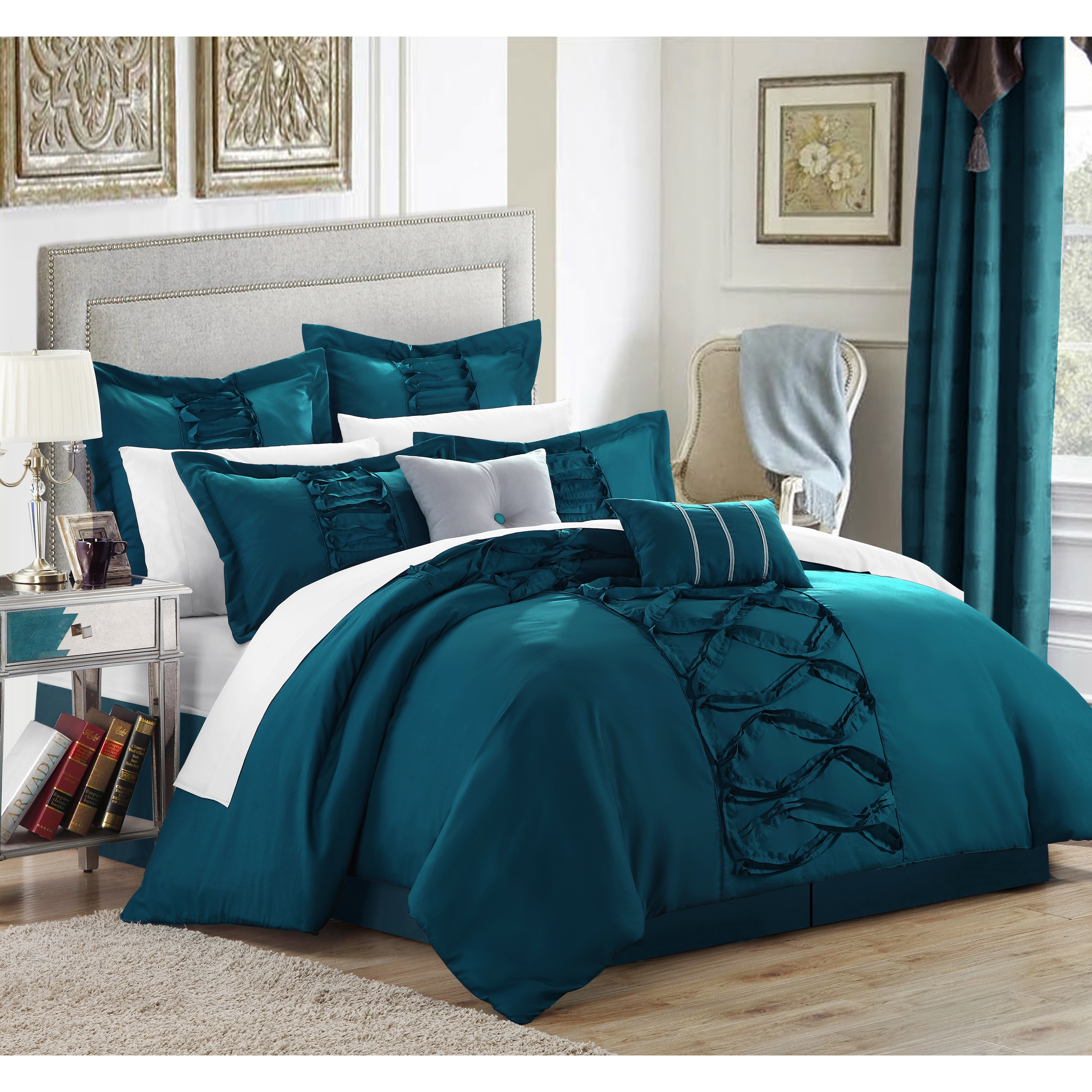 Oliver James Marlene Turquoise 12 Piece Bed In A Bag With Sheet Set On Free Shipping Today 19972859