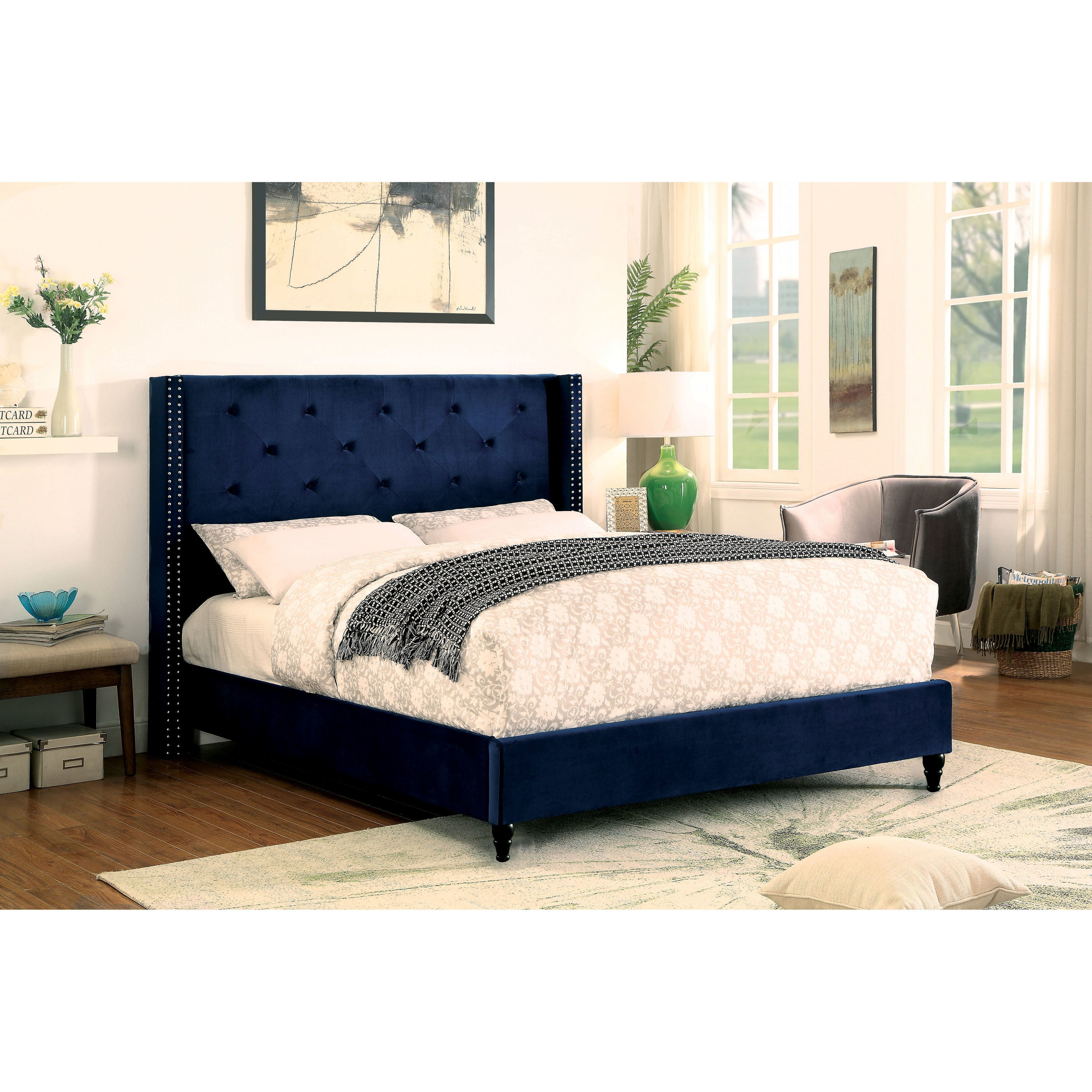 Shop Furniture Of America Kendrick Contemporary Navy Wingback Platform Bed    On Sale   Free Shipping Today   Overstock.com   19974170