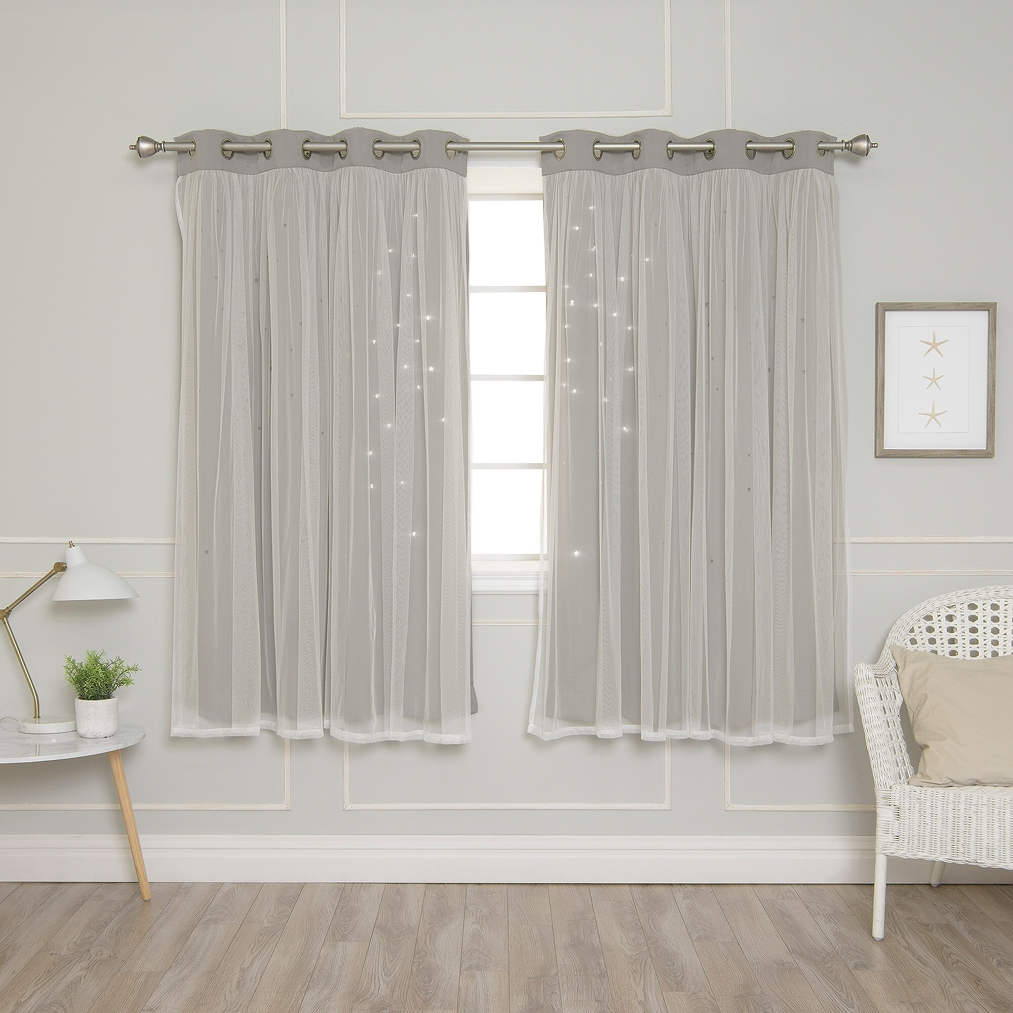 Shop Aurora Home Star Punch Tulle Overlay Blackout Curtains
