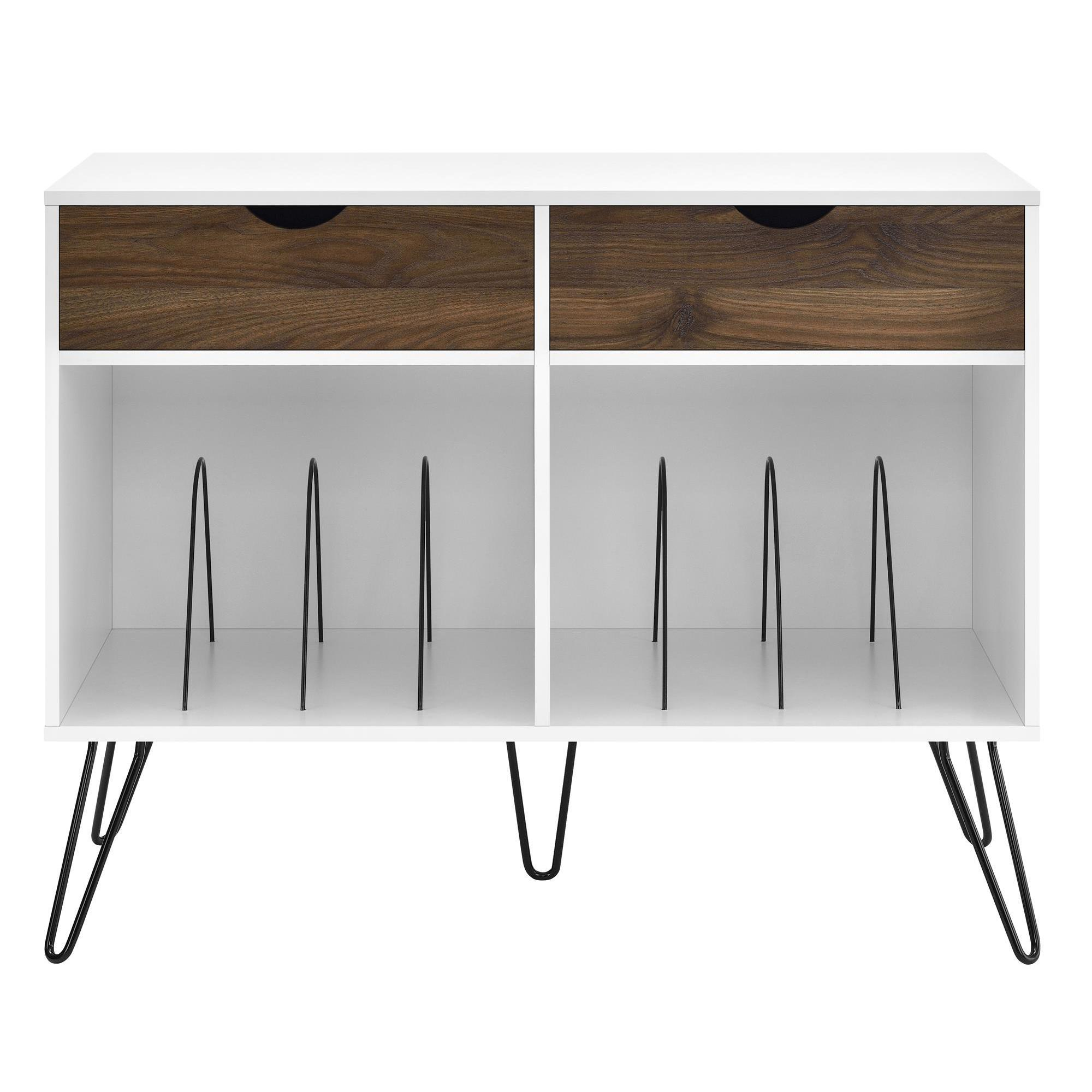 Shop Novogratz Concord White Turntable Stand With Drawers Free