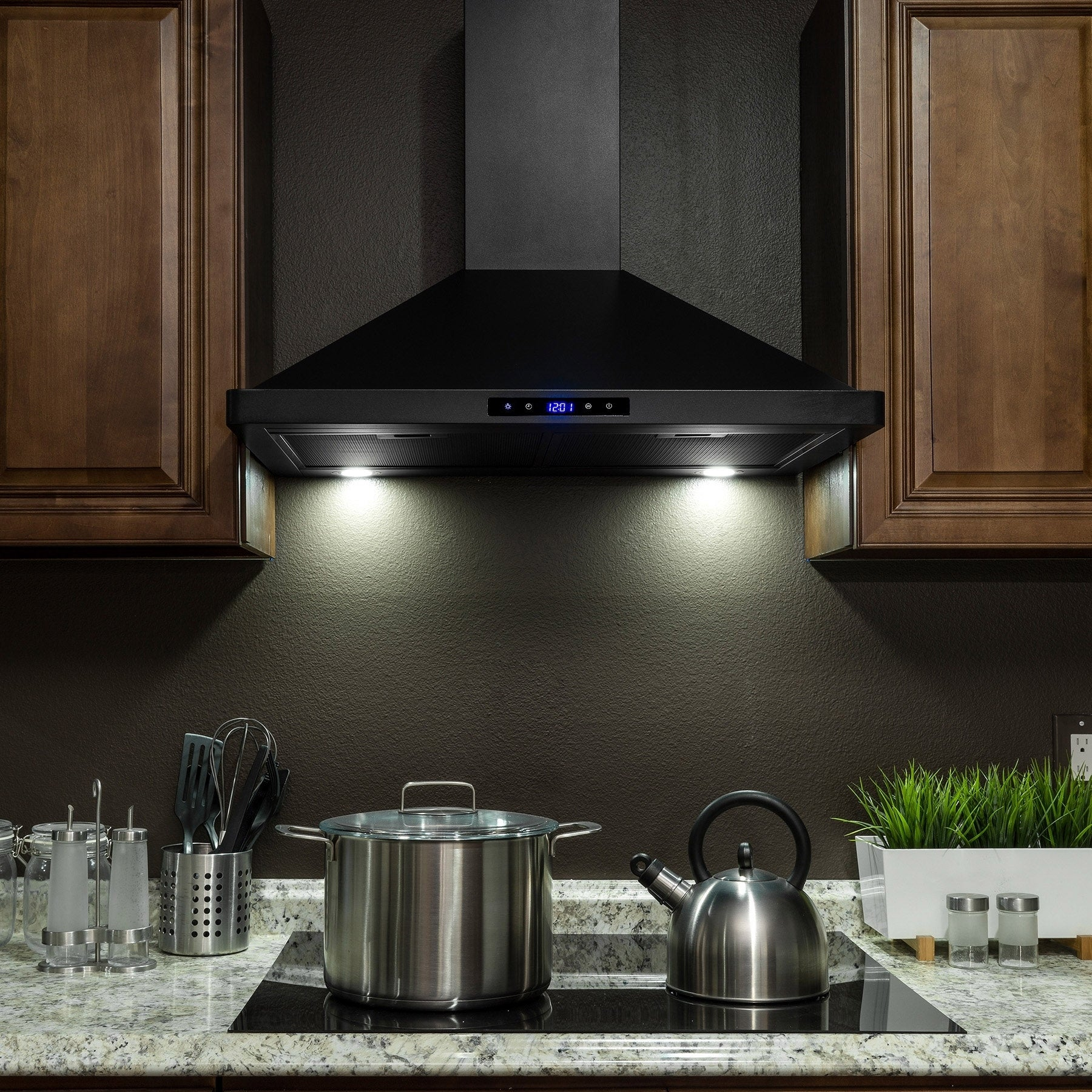 shop akdy rh0325 30 black stainless steel wall mount range hood touch panel mesh filters kitchen vent free shipping today overstockcom 19976463 - Kitchen Vent