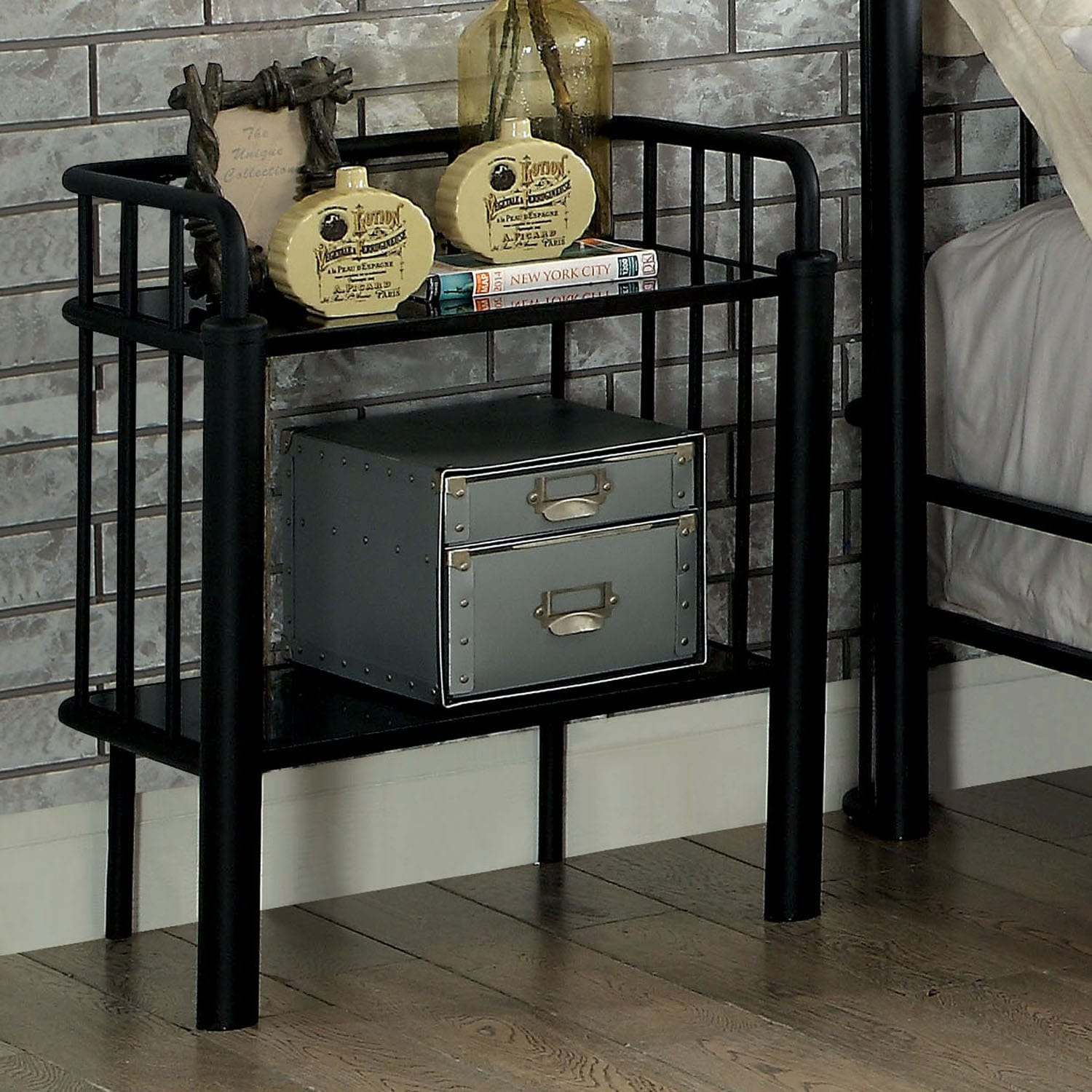 Shop carbon loft blanchard industrial style sand black metal nightstand free shipping today overstock com 19976712