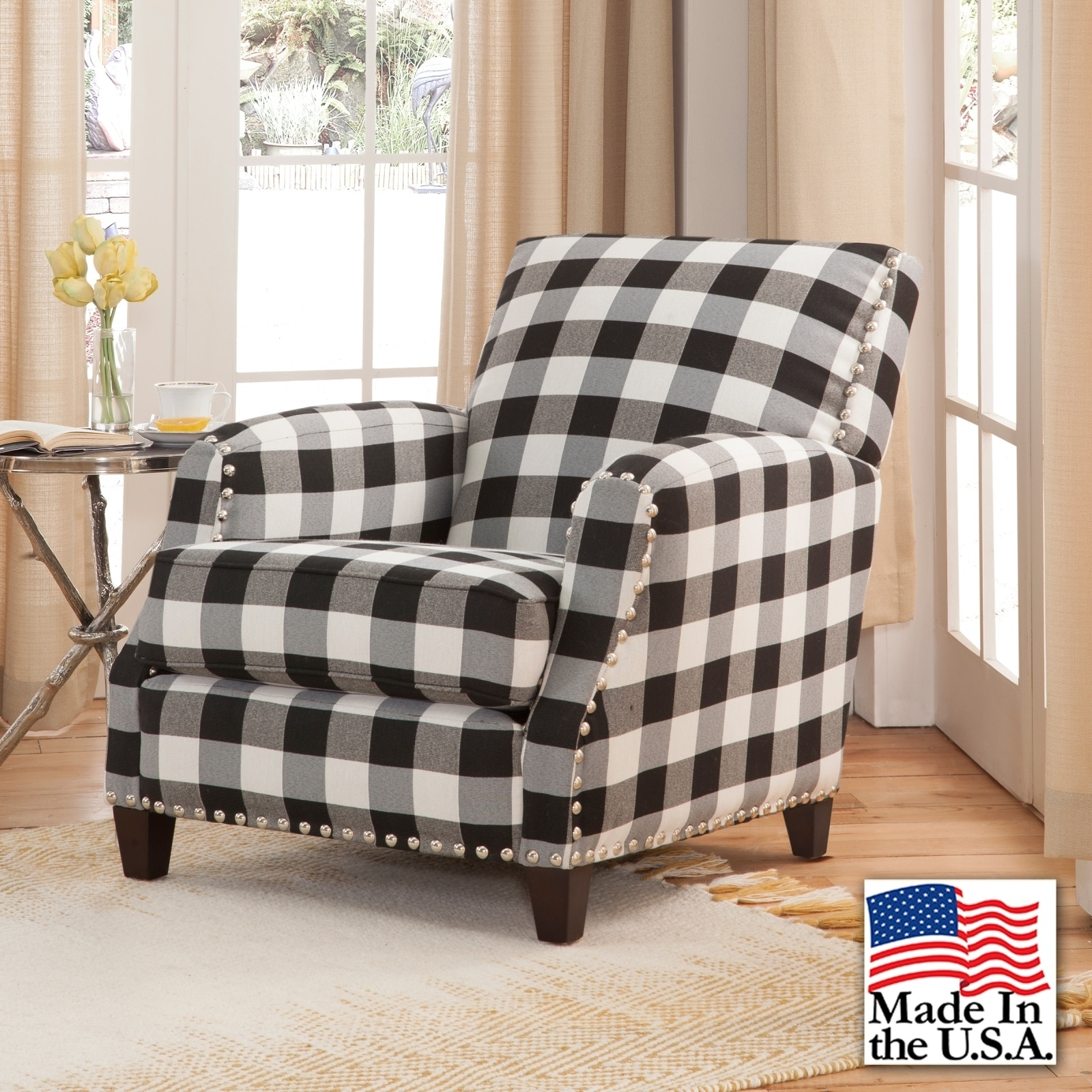 Merveilleux Shop Holland Black And White Plaid Chair   Free Shipping Today    Overstock.com   19977059