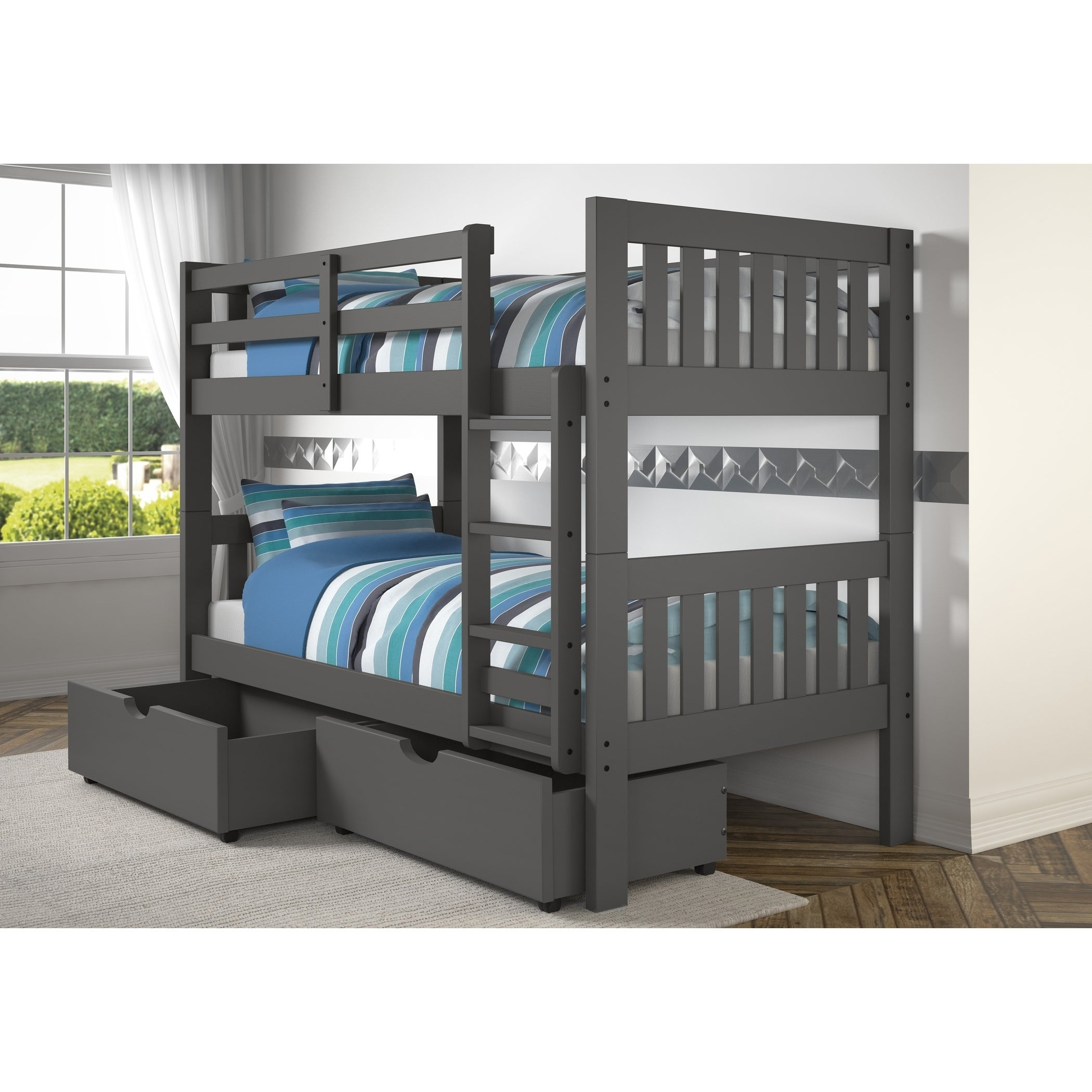 Shop Twin Over Twin Mission Bunk Bed In Dark Grey Finish On Sale