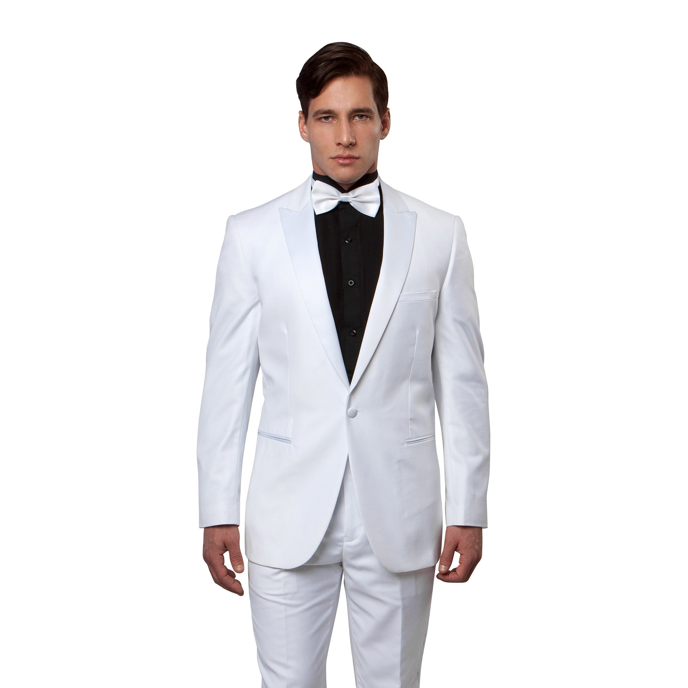 Shop Mens Tuxedo Satin Peak Lapel Slim Fit Tuxedo Suit Set - On Sale - Free  Shipping Today - Overstock - 19977390 b036f881c