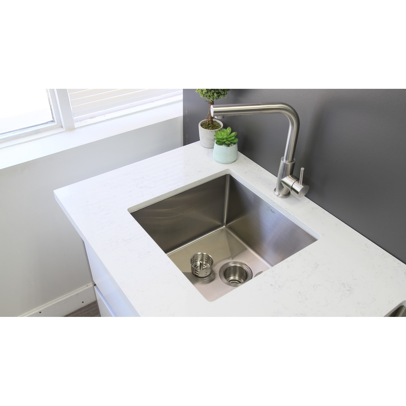 Stylish 19 Inch Single Bowl Undermount 18 Gauge Stainless Steel Kitchen Sink S 308 Aqua On Free Shipping Today 19977412