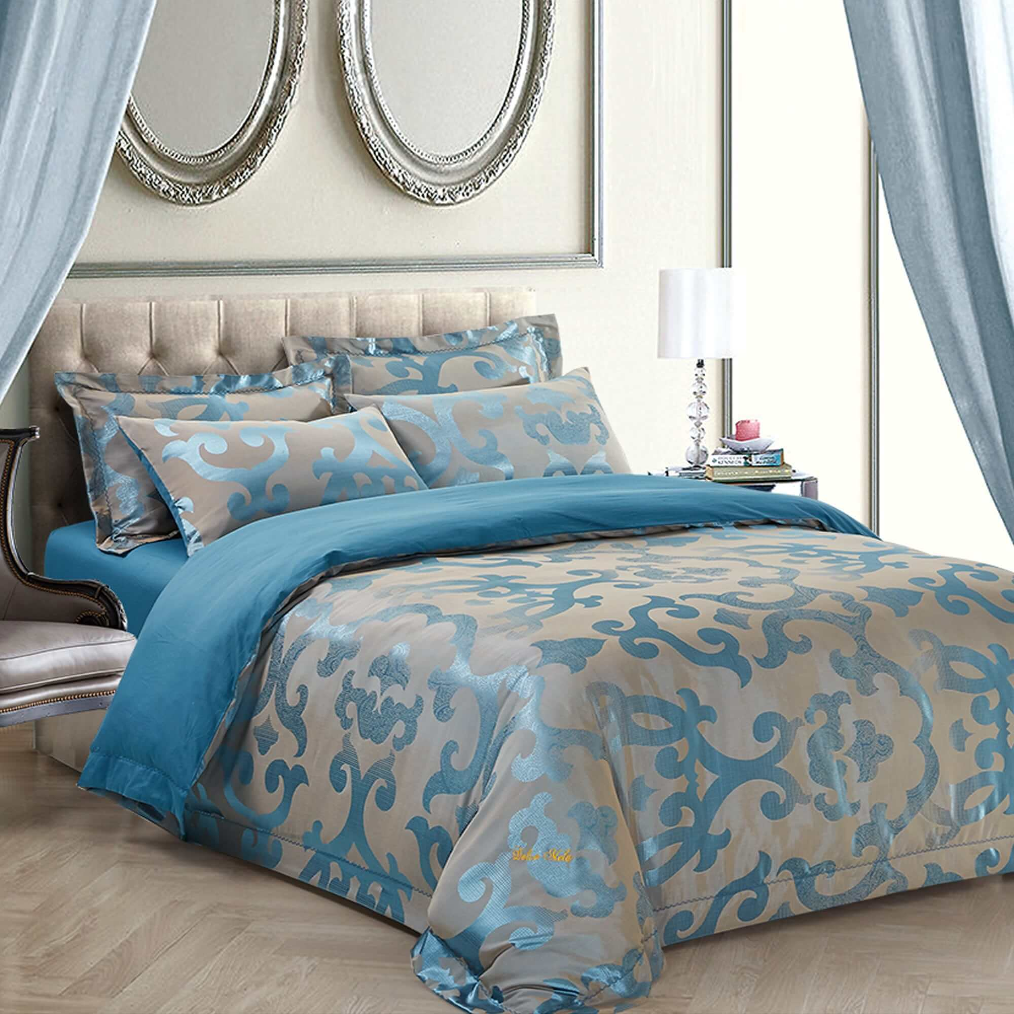 Jacquard Traditional 6 Piece Duvet Cover Set by Dolce Mela - Free ...