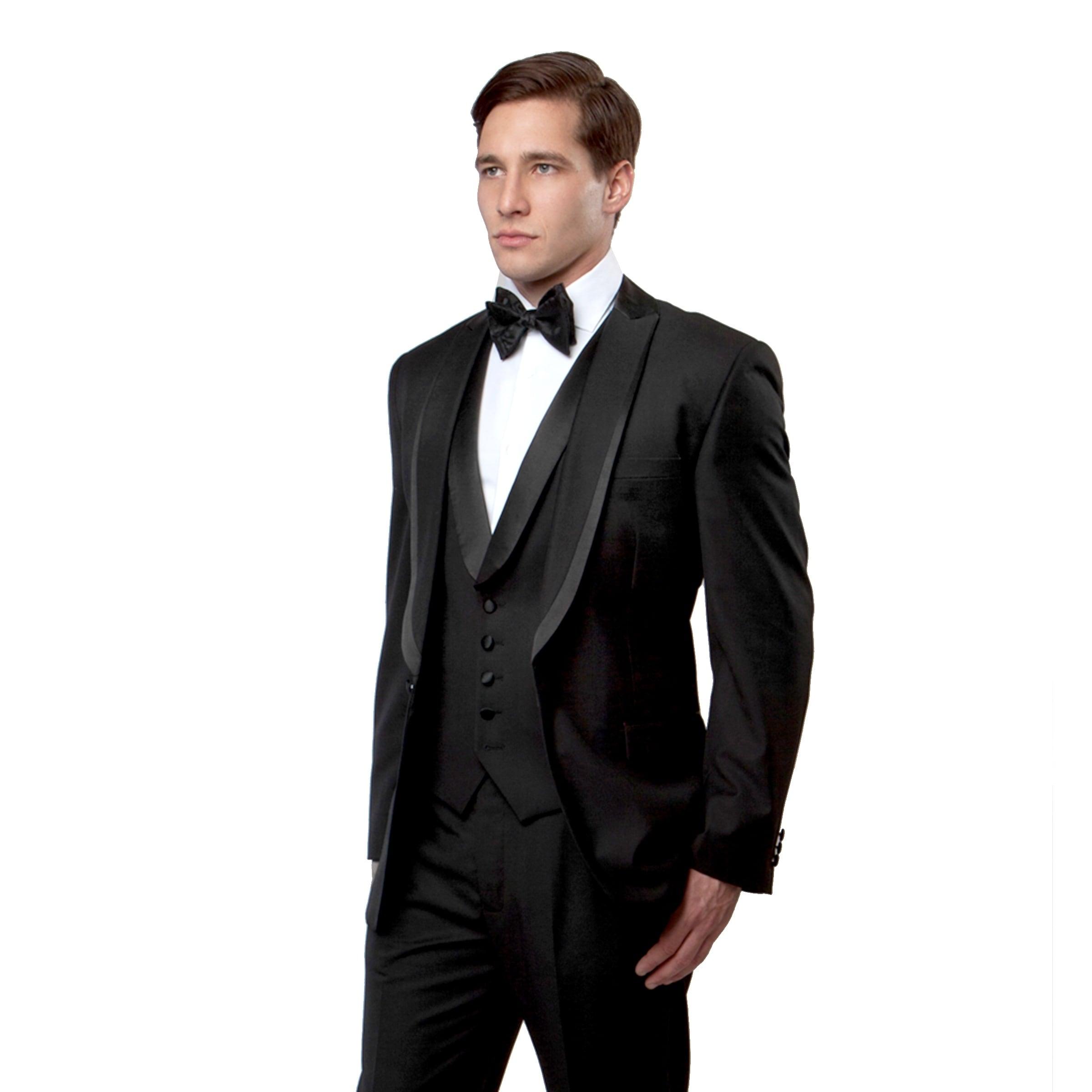 Men/'s Red Classic Fit Formal Tuxedo Suit w// Black Sateen Lapel /& Trim NEW