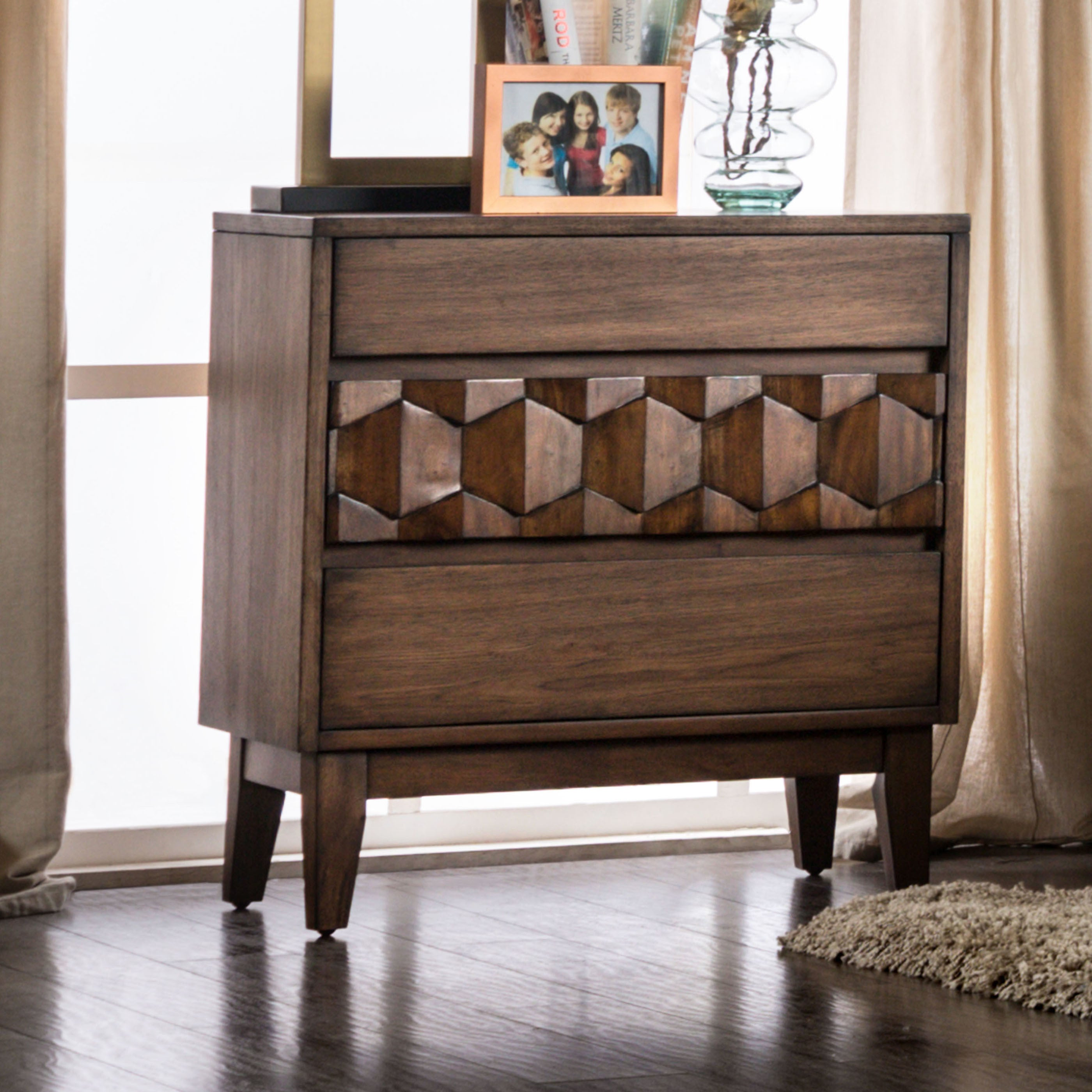 Beau Shop Furniture Of America Curtiz Contemporary Laser Cut 3 Drawer Nightstand    On Sale   Free Shipping Today   Overstock.com   19978592