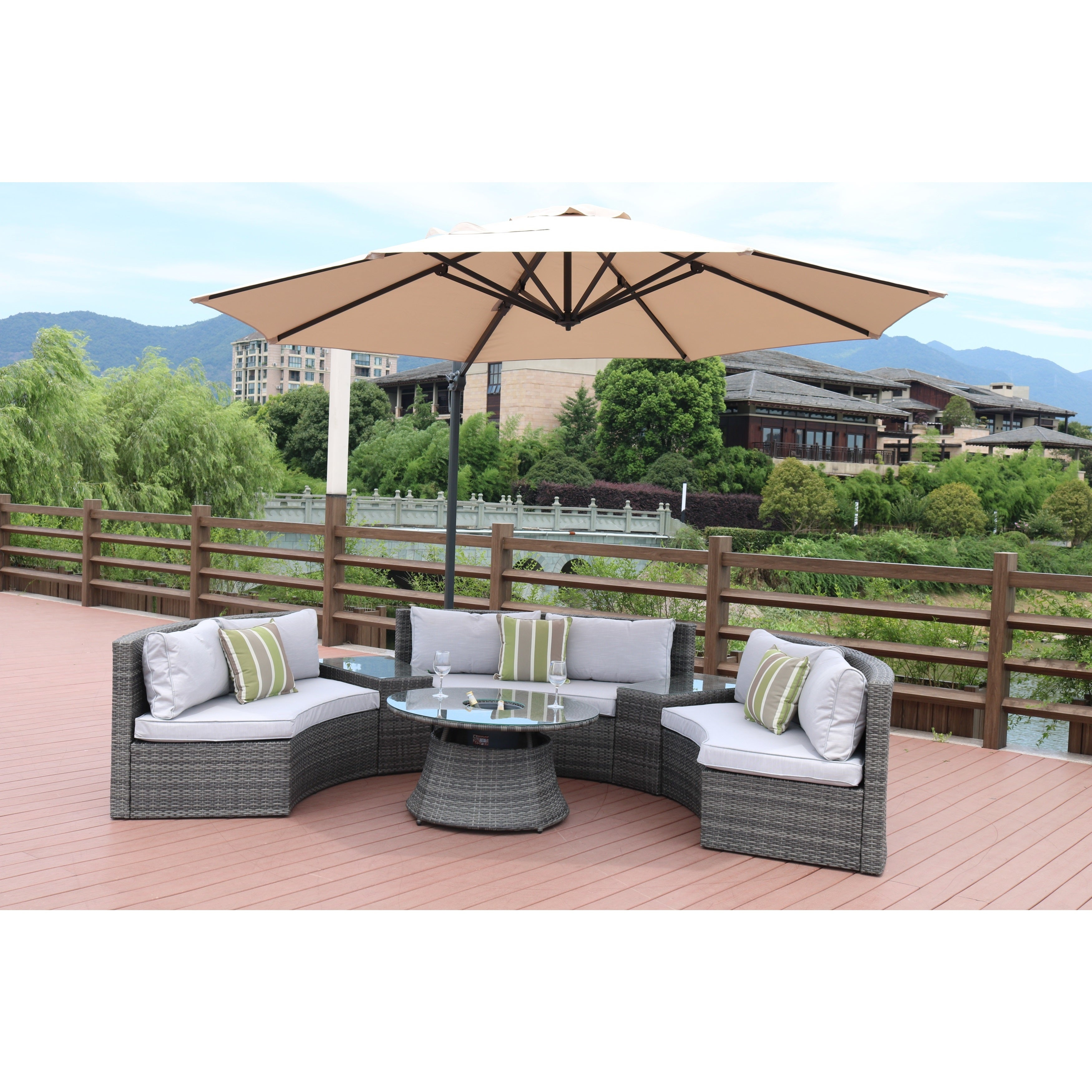 Shop half moon 7 piece curved wicker patio furniture set with 11 5 foot cantilever umbrella parasol by direct wicker free shipping today overstock