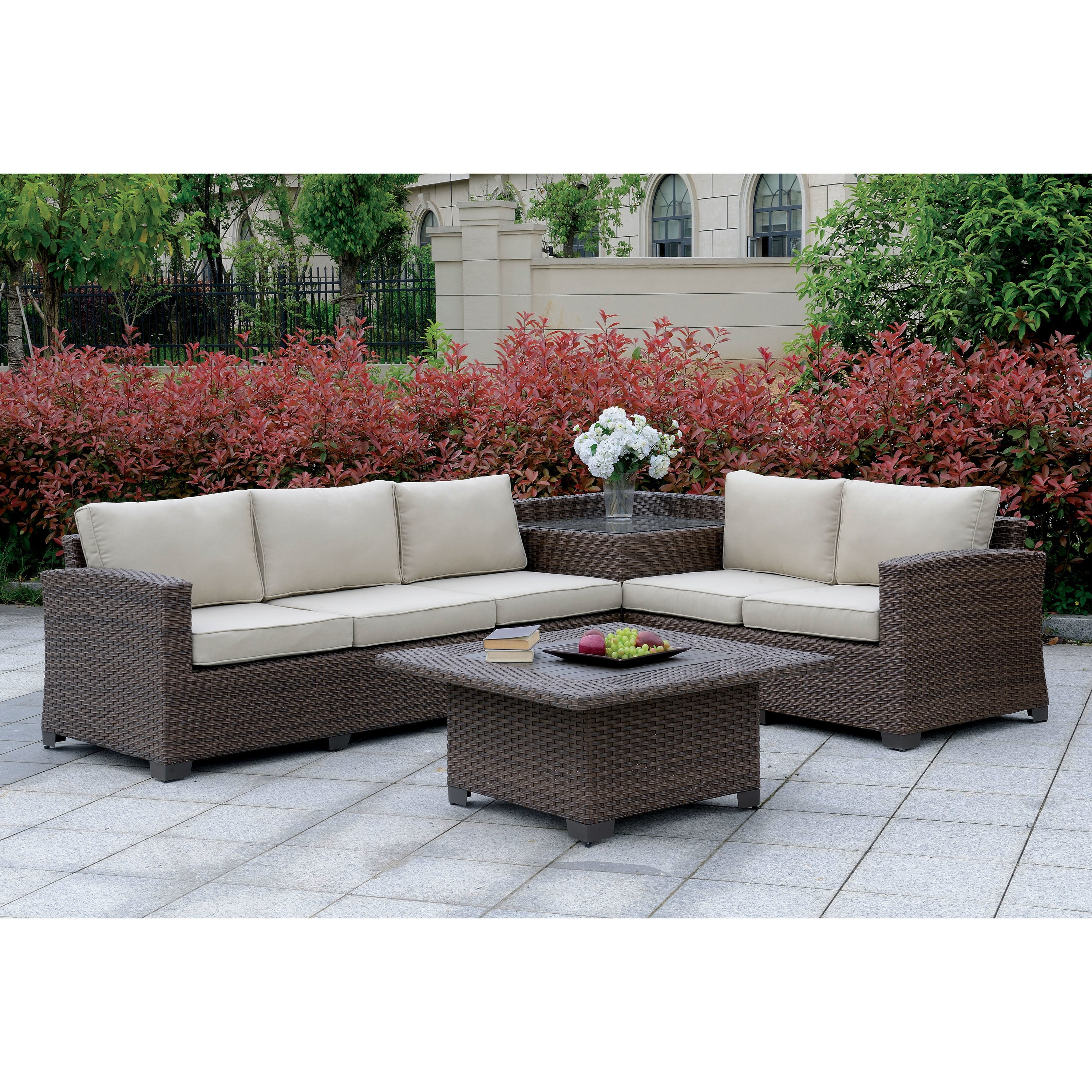This Furniture Of America Langston Contemporary Outdoor Patio Sectional With Corner Table Free Shipping Today 25899210