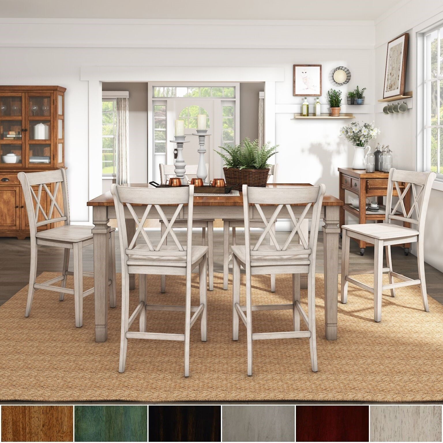 Shop Elena Antique White Extendable Counter Height Dining Set
