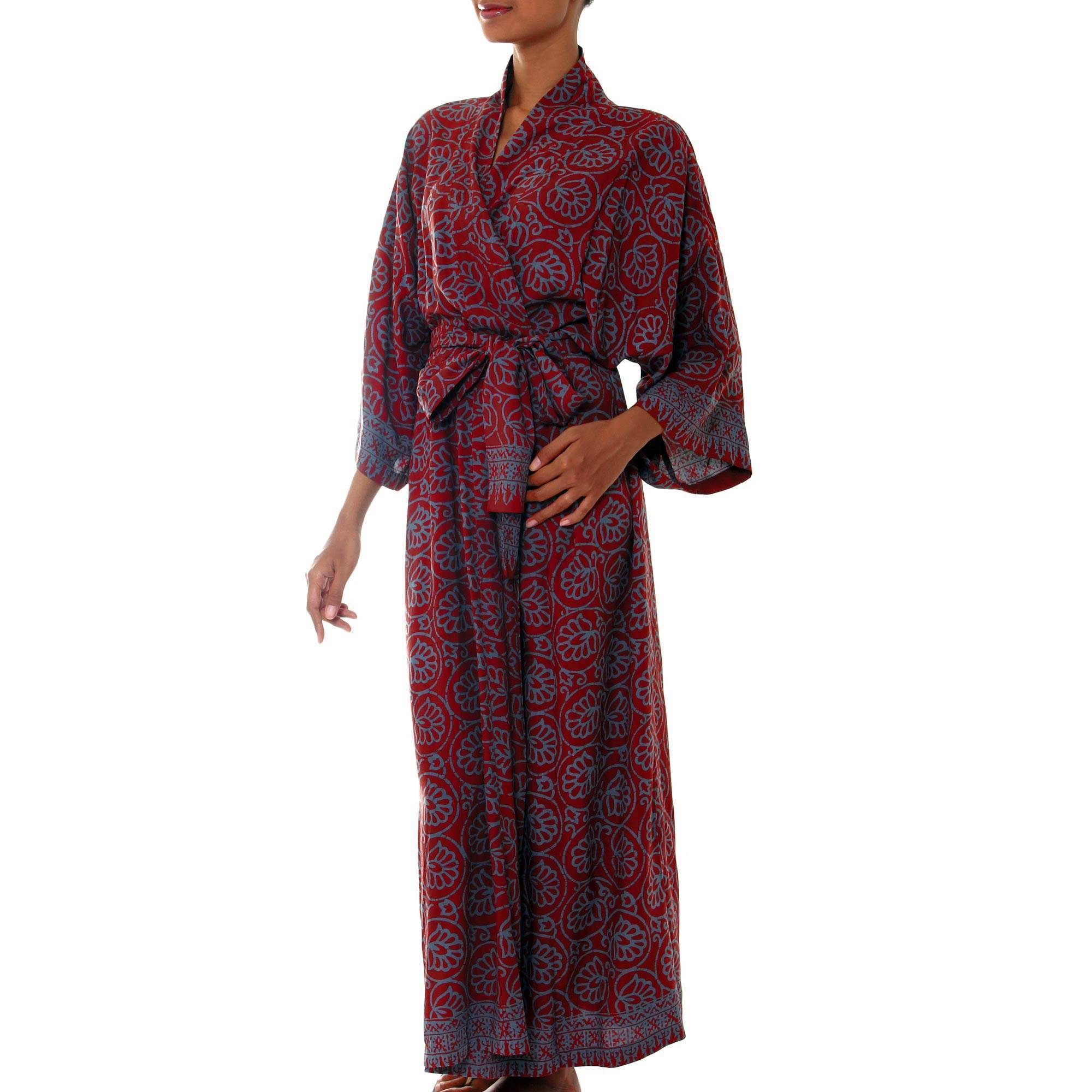 195ea669193 Shop Handmade Rayon  Morning Aster  Robe (Indonesia) - On Sale - Free  Shipping Today - Overstock - 19984037