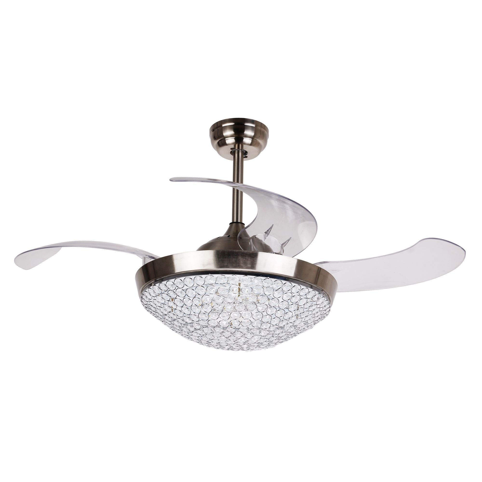 Dimmable Led 42 Inch Foldable 4 Blades Crystal Ceiling Fan With Remote