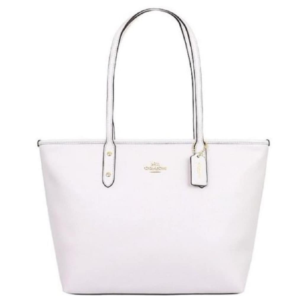 fc19052ac8af9 Shop Coach 58846 Crossgrain City Zip Tote White - On Sale - Free ...