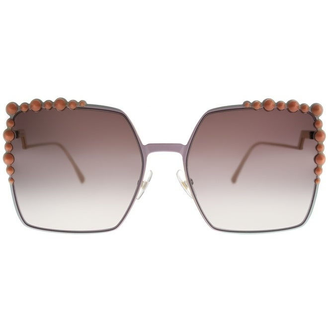 5a608c479250 Shop Fendi Square FF 0259 35J Womens Pink Frame Brown Mirror Gradient Lens  Sunglasses - Free Shipping Today - Overstock - 19992582