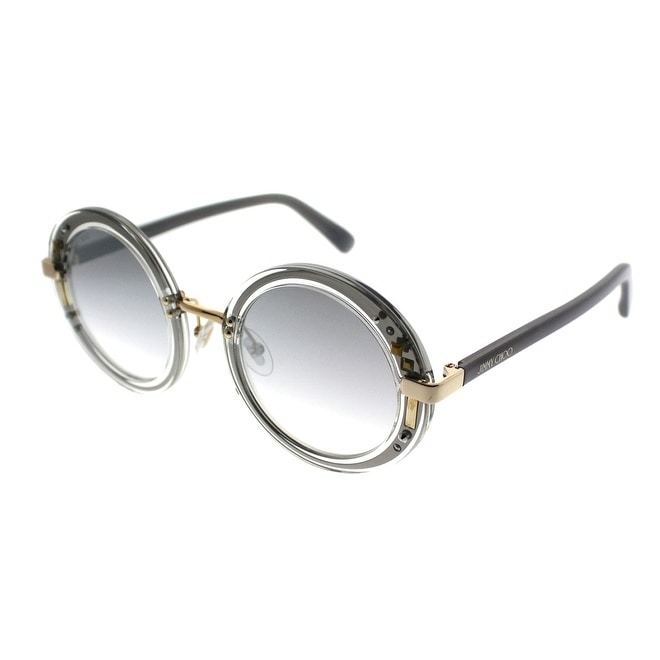 818c637c3464b Shop Jimmy Choo Round JC Gem 16U FU Women Crystal Gold Grey Frame Silver  Mirror Lens Sunglasses - Free Shipping Today - Overstock.com - 19992588