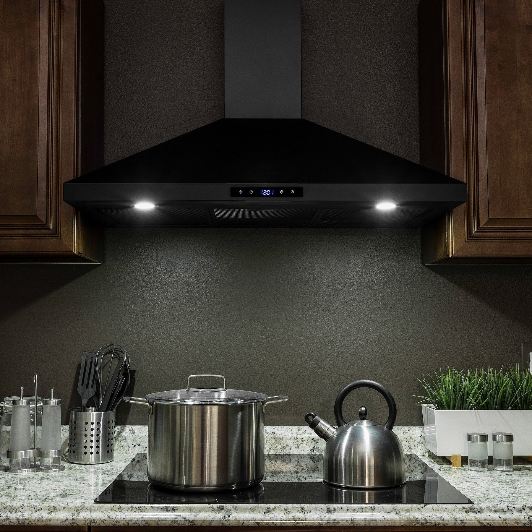 Golden Vantage Rh0328 36 Black Stainless Steel Wall Mount Range Hood Touch Panel Mesh Filters Kitchen Vent On Free Shipping Today