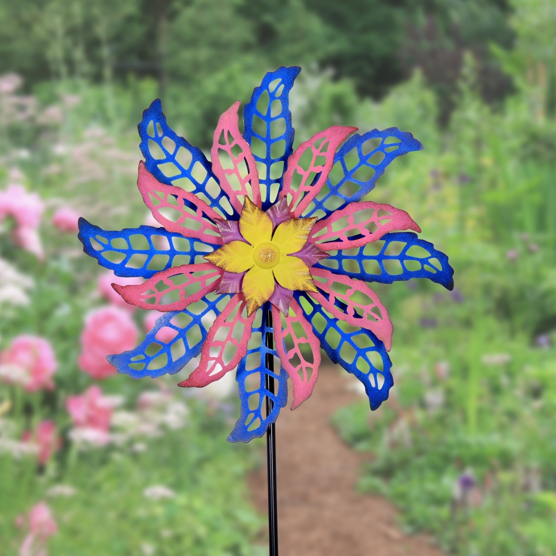 Shop 16 Dual Spinning Metal Flower Blue And Pink Free Shipping