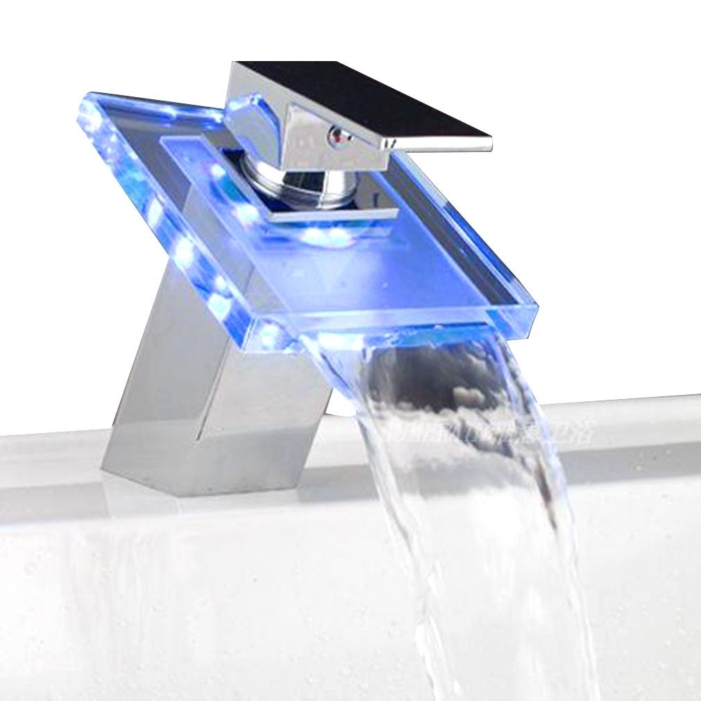 Shop Durable Glass LED Bathroom Waterfall Sink Colors changing ...