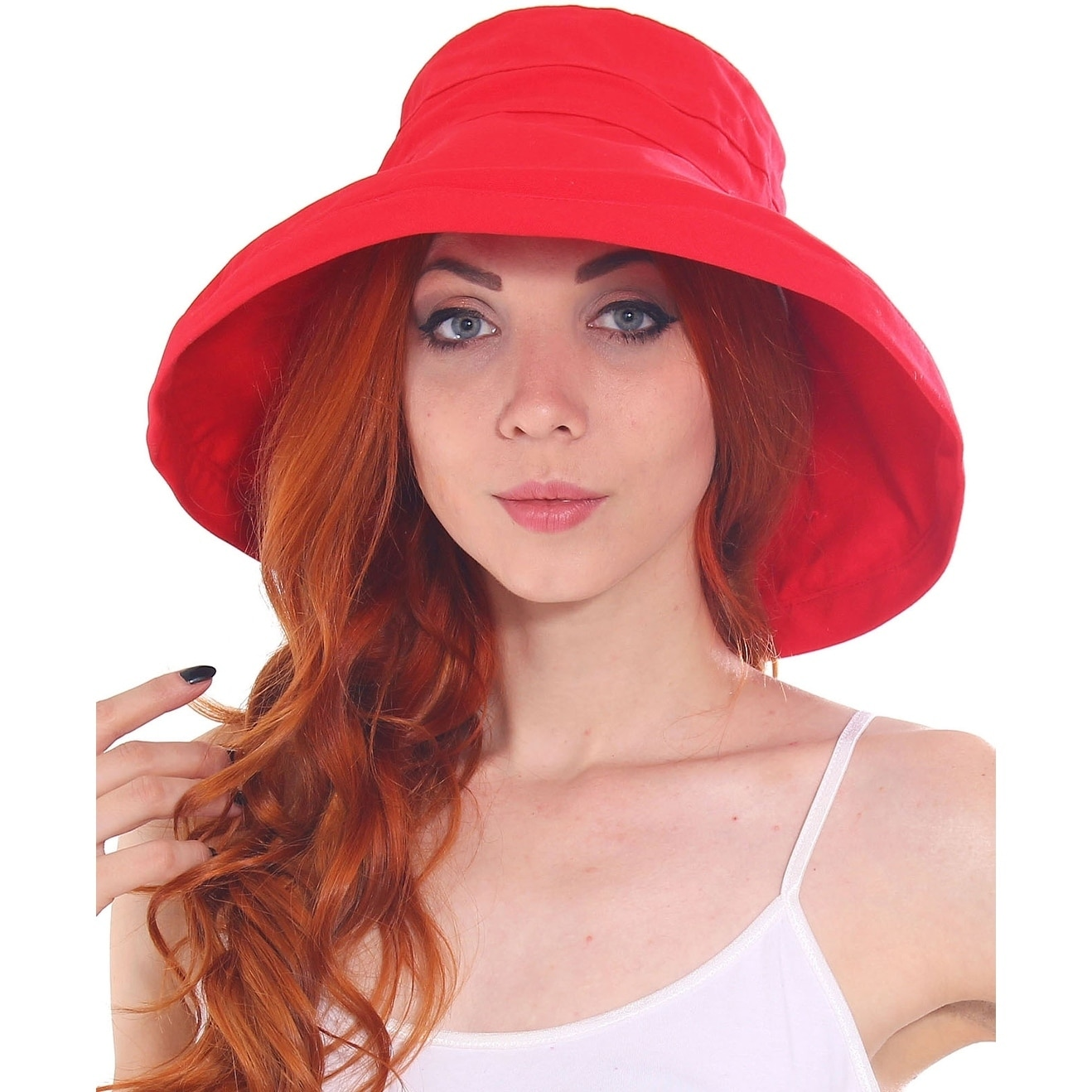 f5b3e76f786 Shop Women s Cotton Foldable Summer Sun Hat w  Bow - On Sale - Free  Shipping On Orders Over  45 - Overstock.com - 19996321