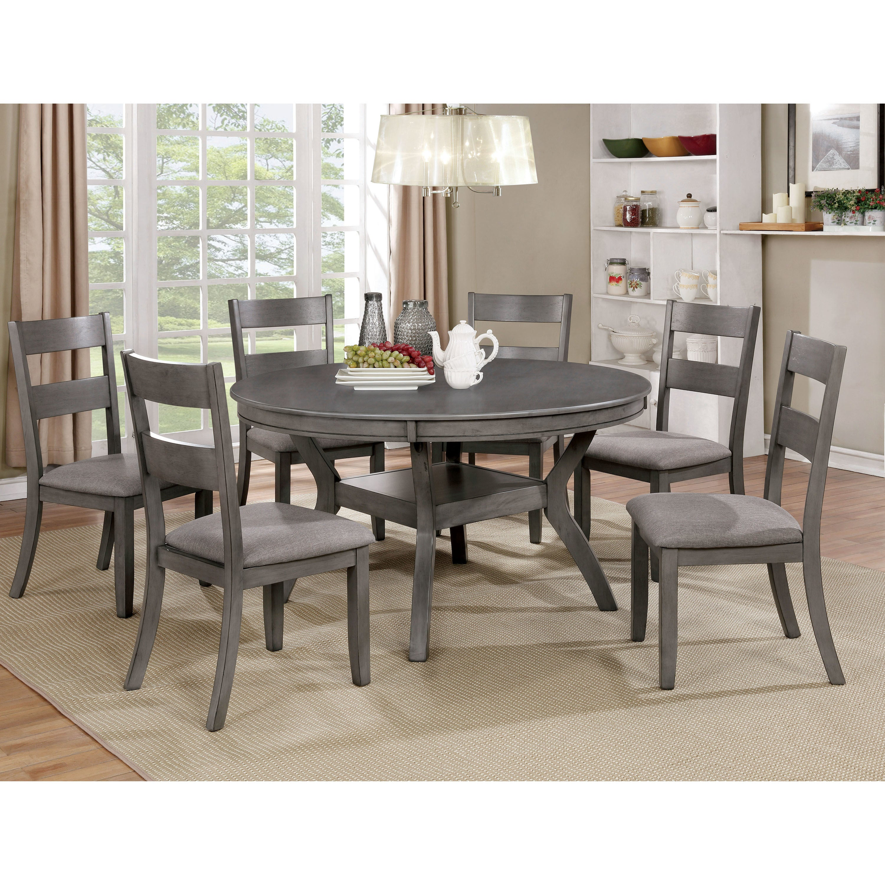 furniture of america relia transitional grey 54 inch round dining