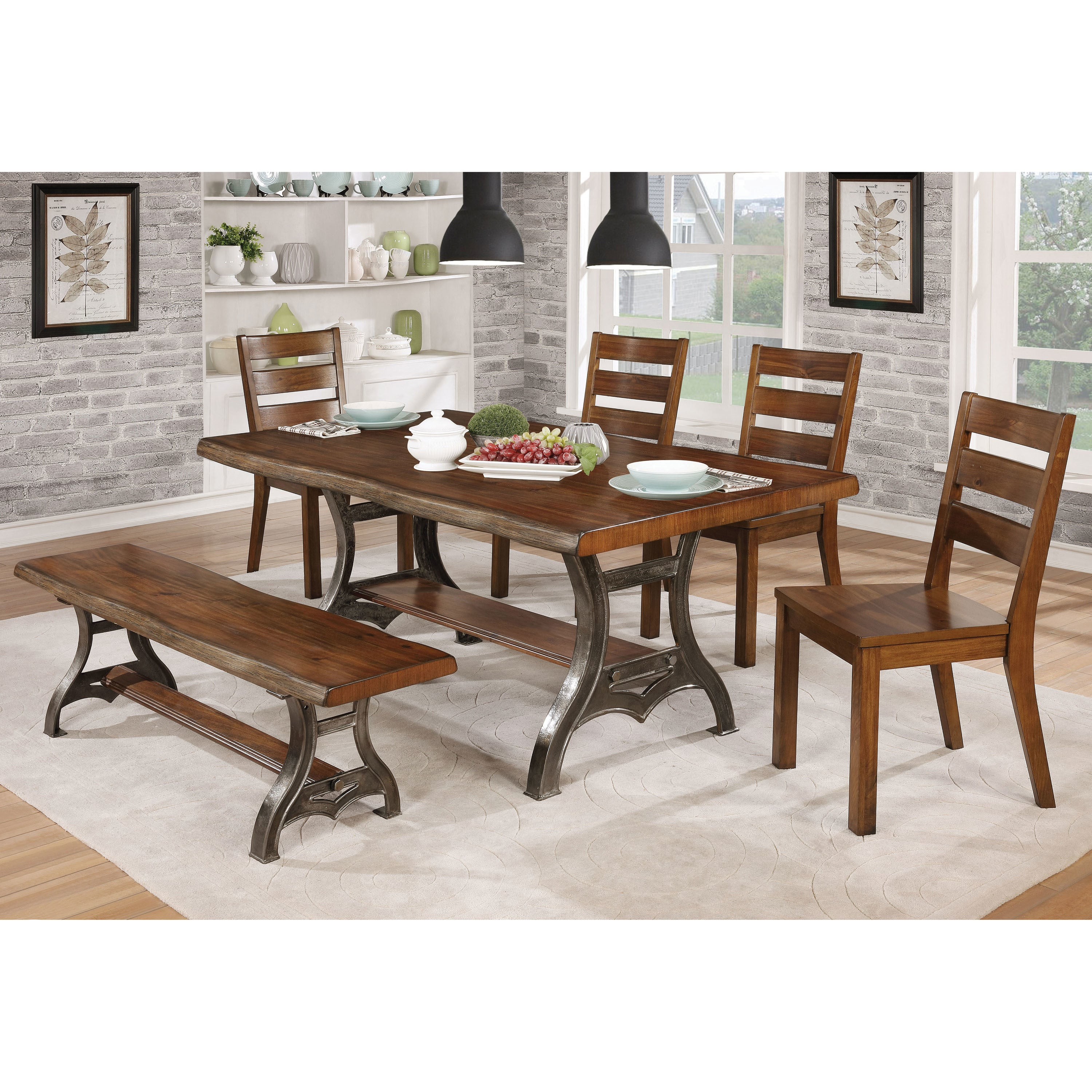 Shop Furniture Of America Roman Industrial Brown Cherry Live Edge - 68 inch dining table