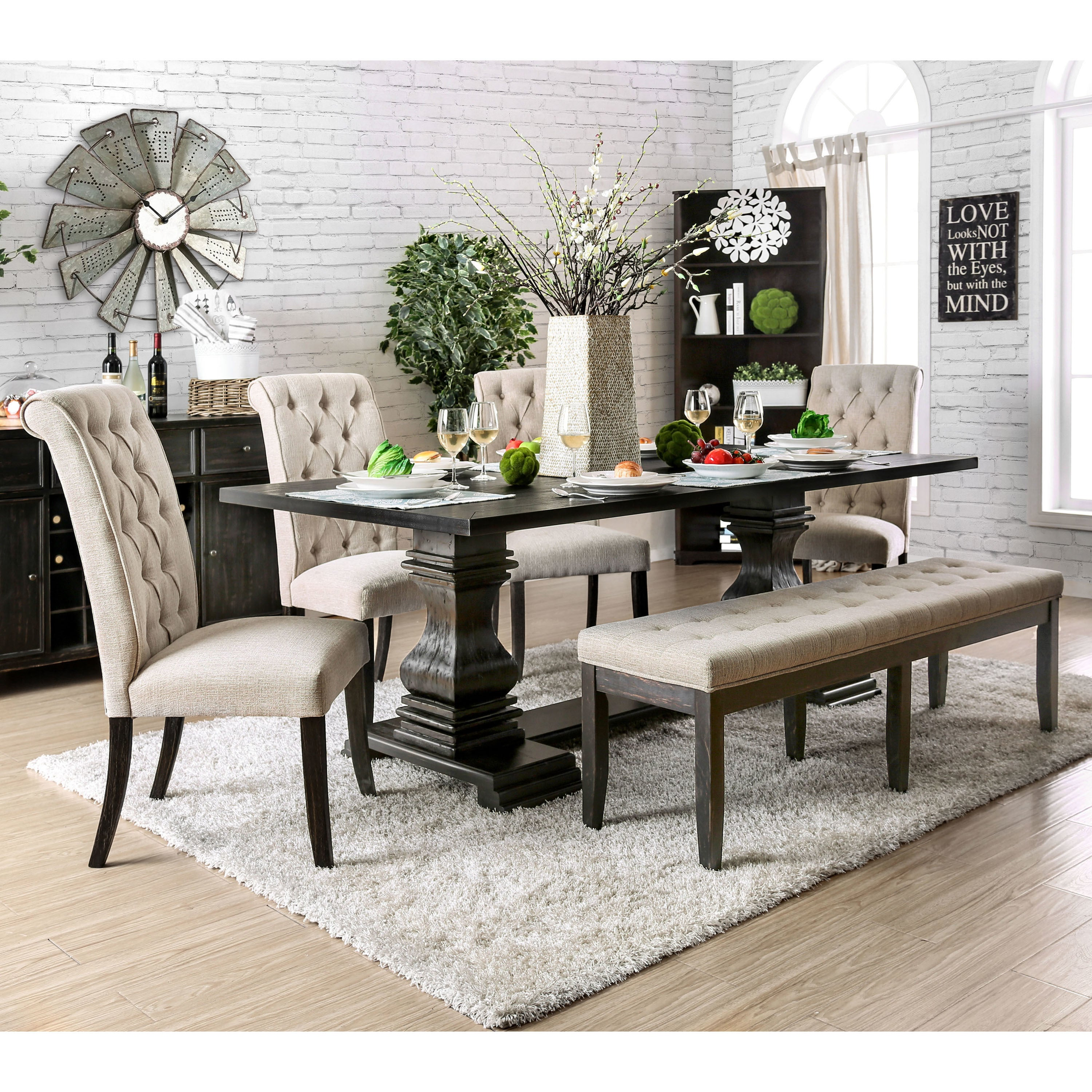 Shop Furniture Of America Reagan Transitional Antique Black Inch - 84 inch dining room table