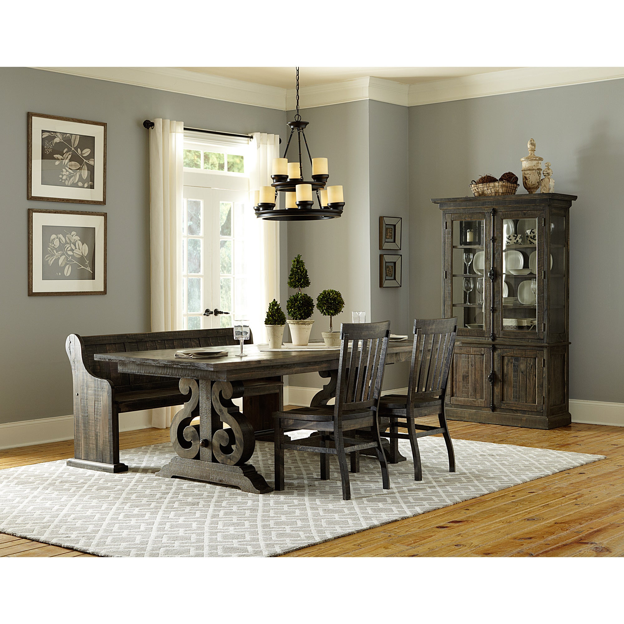 Shop Gracewood Hollow Barbara Aged Wood Dining Bench On Sale - Aged wood dining table