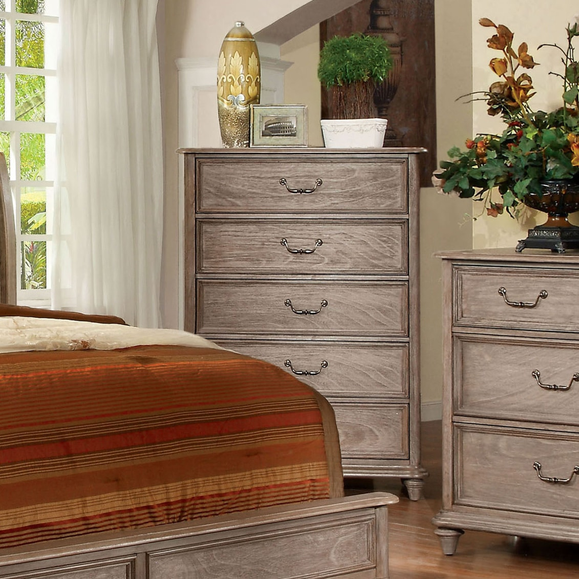 Shop Furniture Of America Rustic Grey 5 Drawer Chest On Sale