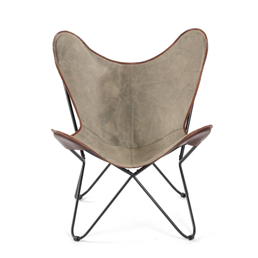 Shop Brevent Iron Butterfly Chair W/ Canvas Seat And Leather Trim   On Sale    Free Shipping Today   Overstock.com   20003052