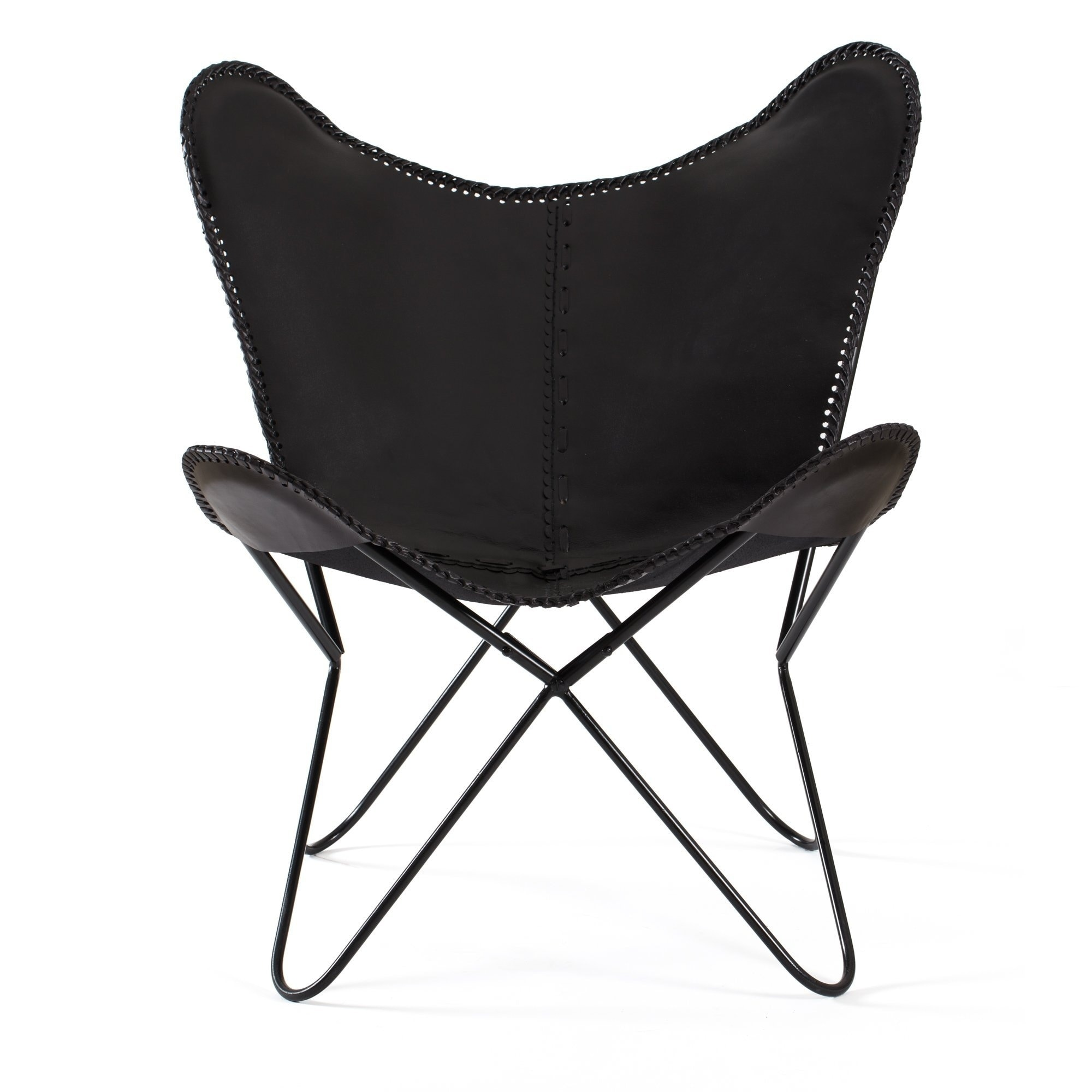 Shop Montreux Iron Butterfly Chair With Real Leather Seat Free