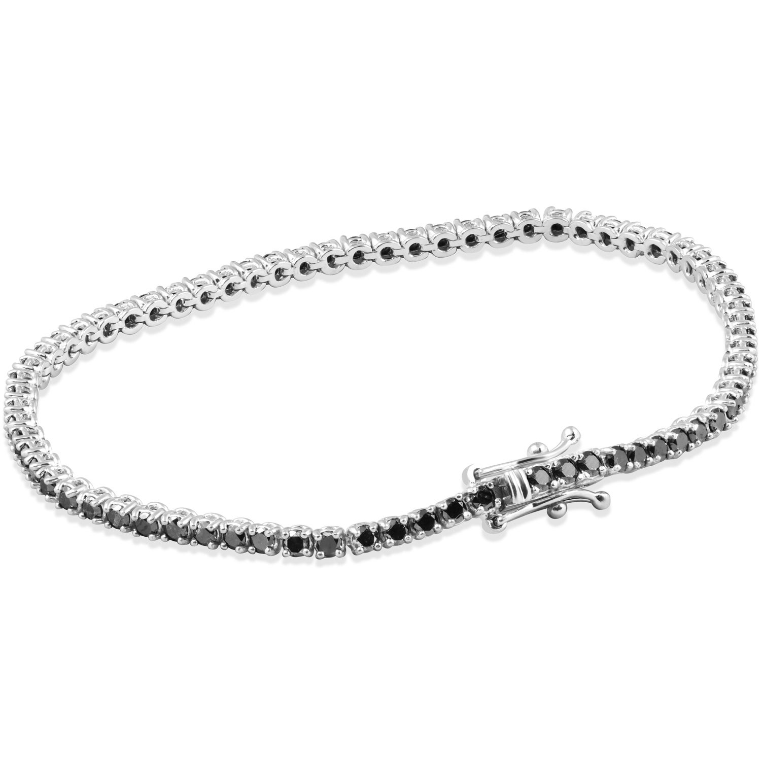 tennis dp bracelet inch black zirconia jewelry sterling cubic rhodium round diamond com cut silver amazon